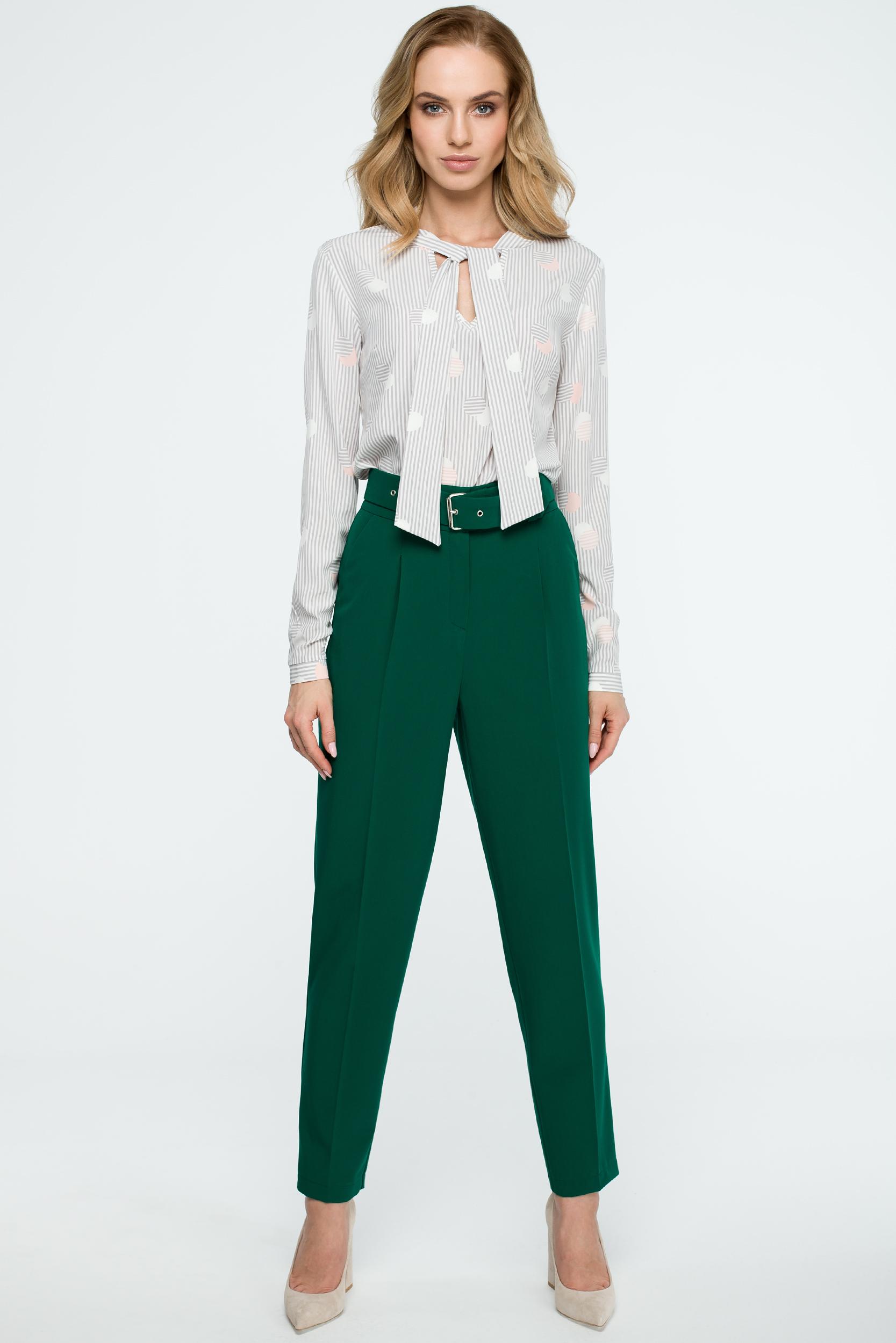CM3842 Spodnie z wysokim stanem i paskiem - zielone