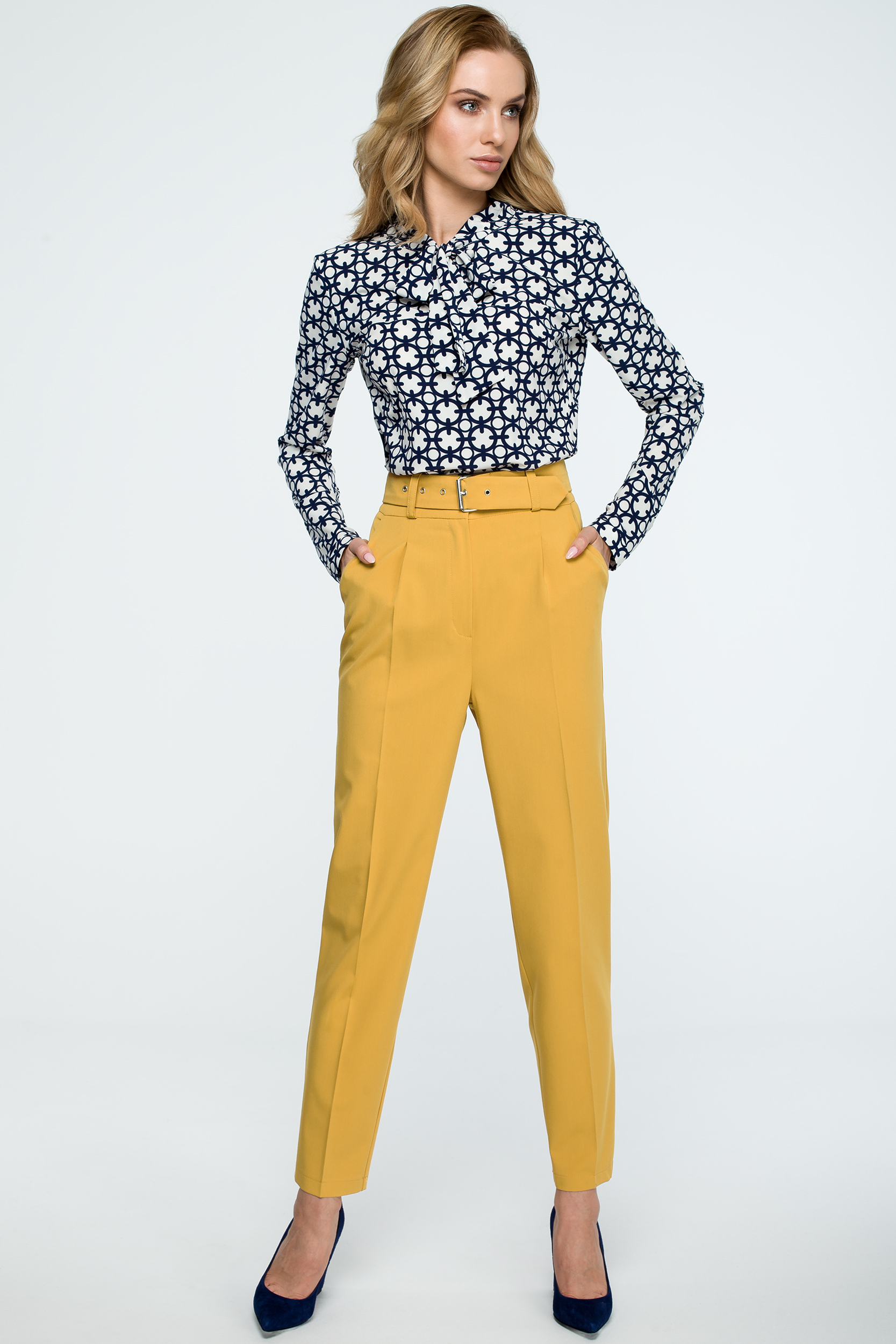 e5ff110571672b CM3842 Spodnie z wysokim stanem i paskiem - żółte ...
