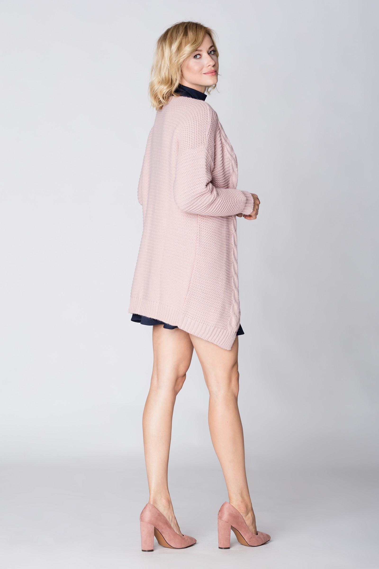 CM3887 Długi modny kardigan - różowy