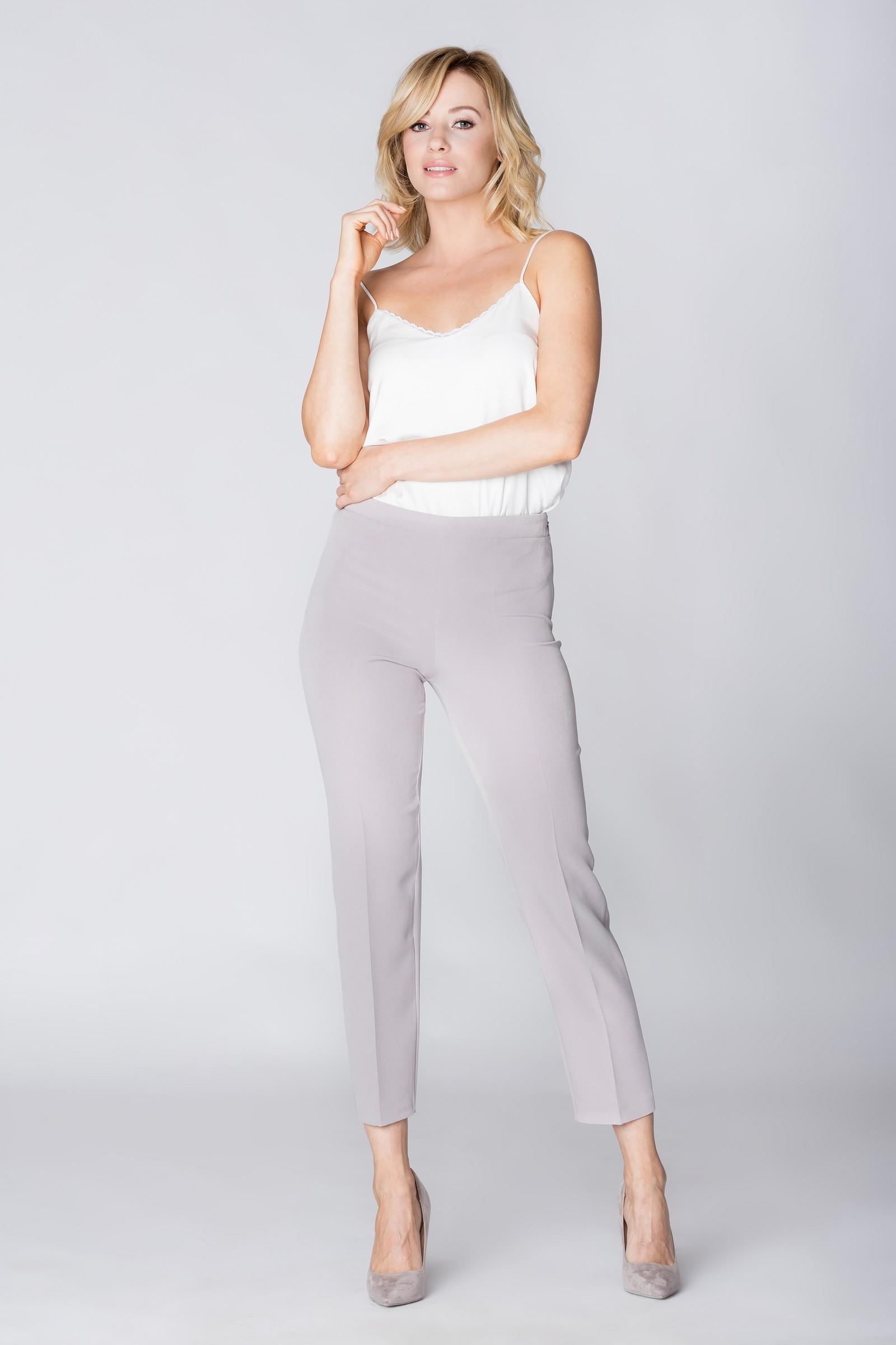 CM3889 Eleganckie spodnie materiałowe z pasem z tyłu - szare