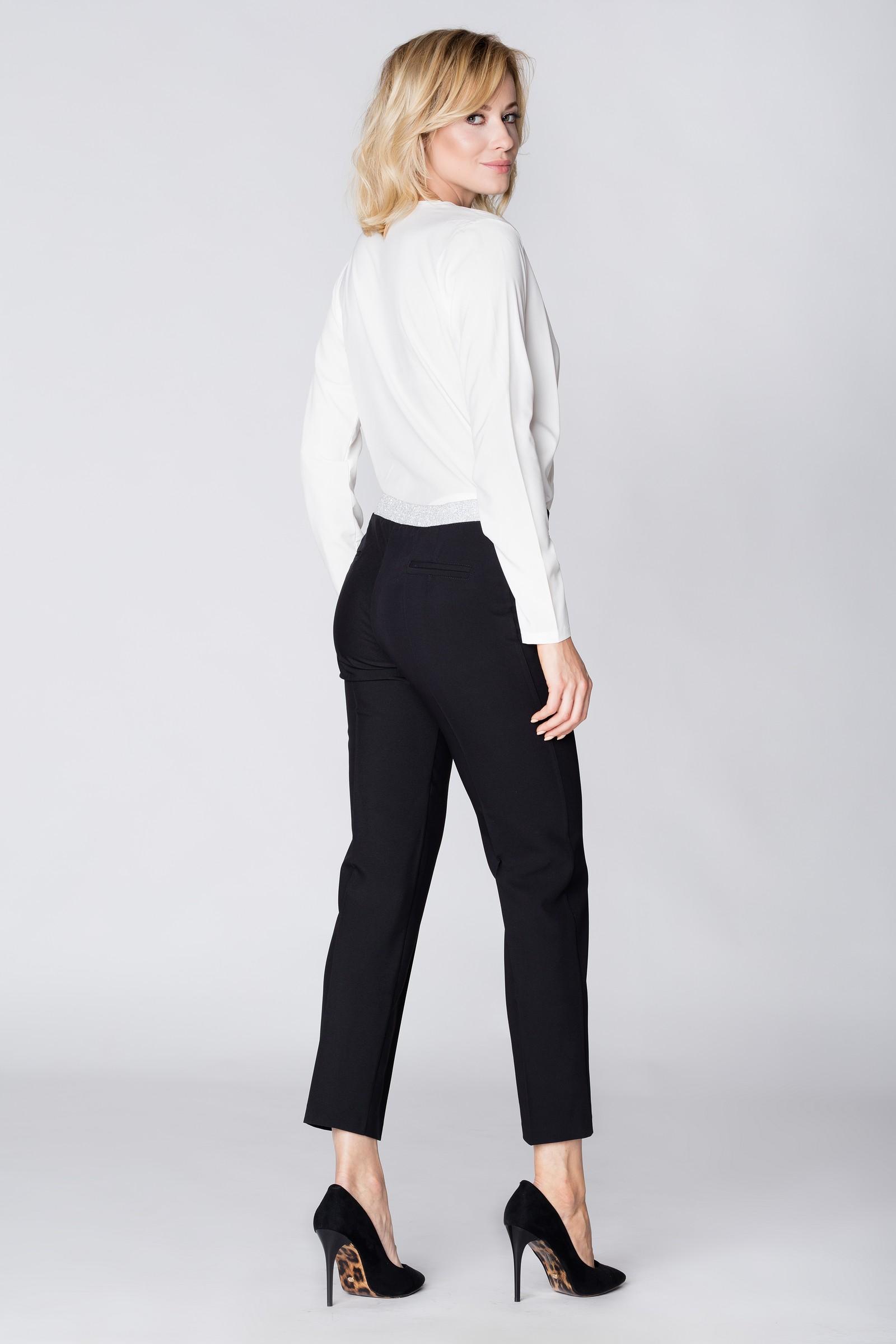 CM3889 Eleganckie spodnie materiałowe z pasem z tyłu - czarne