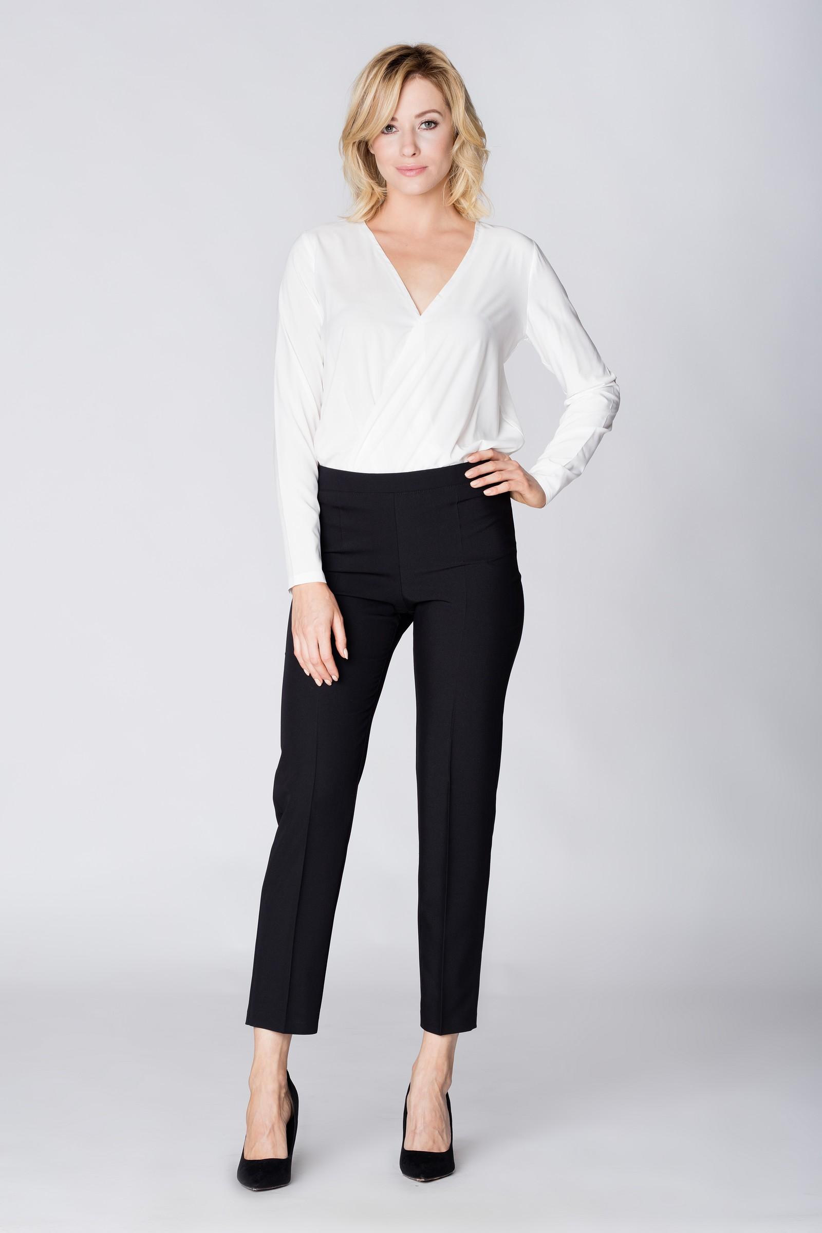 f13326aa30df CM3889 Eleganckie spodnie materiałowe z pasem z tyłu - czarne ...