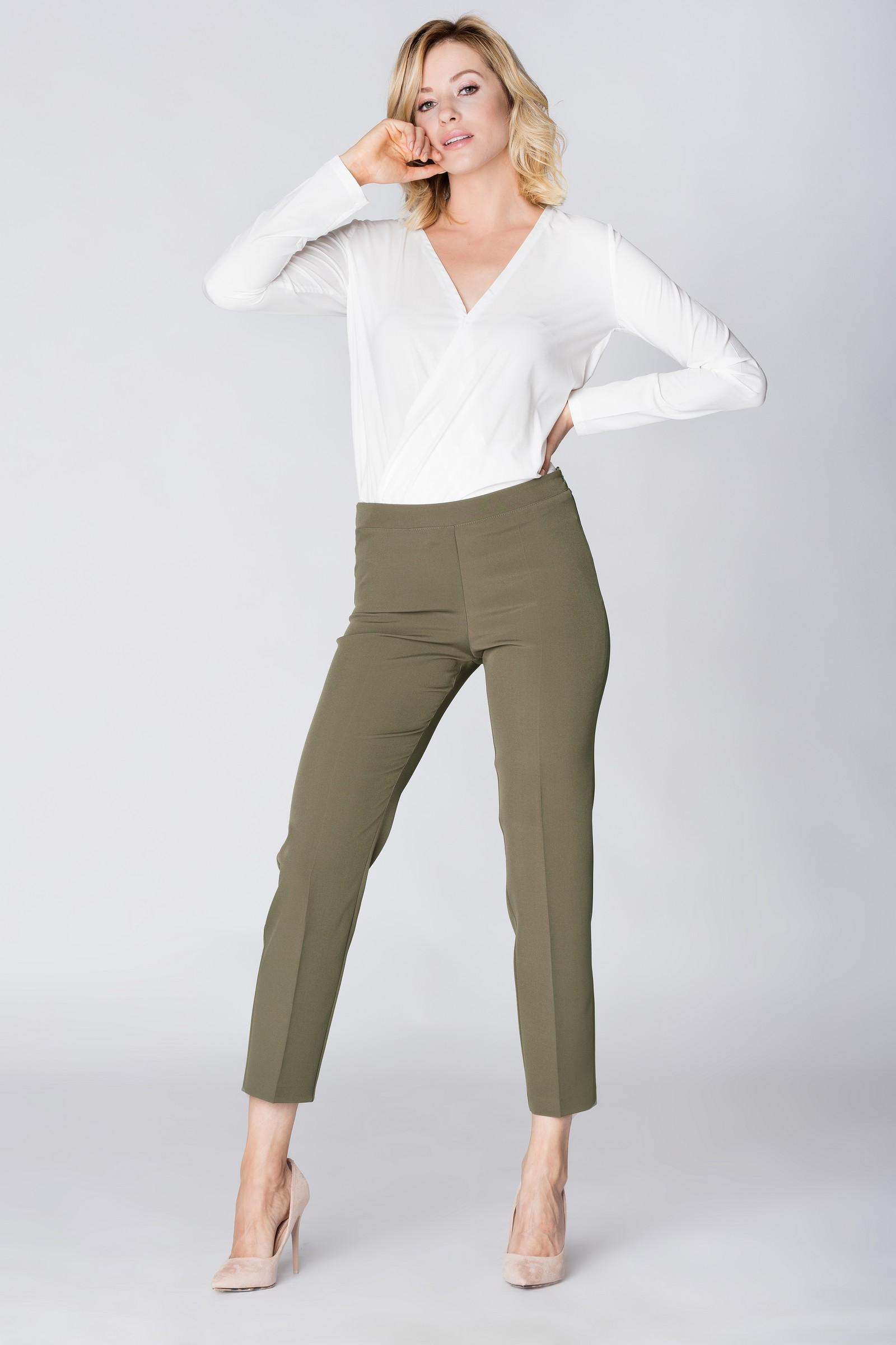 5ef76f14b856 CM3889 Eleganckie spodnie materiałowe z pasem z tyłu - khaki ...