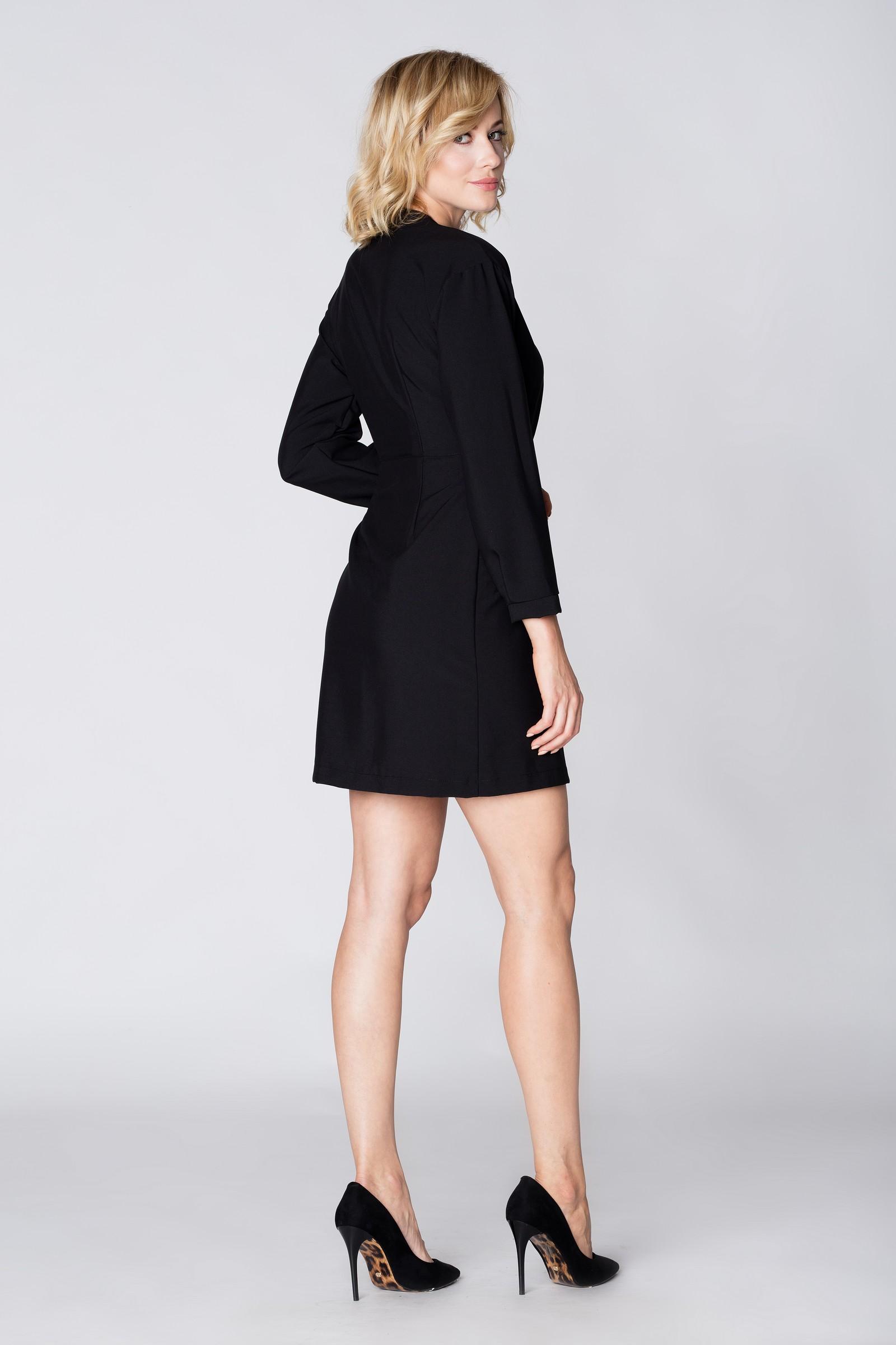 CM3892 Stylowa kopertowa sukienka - czarna