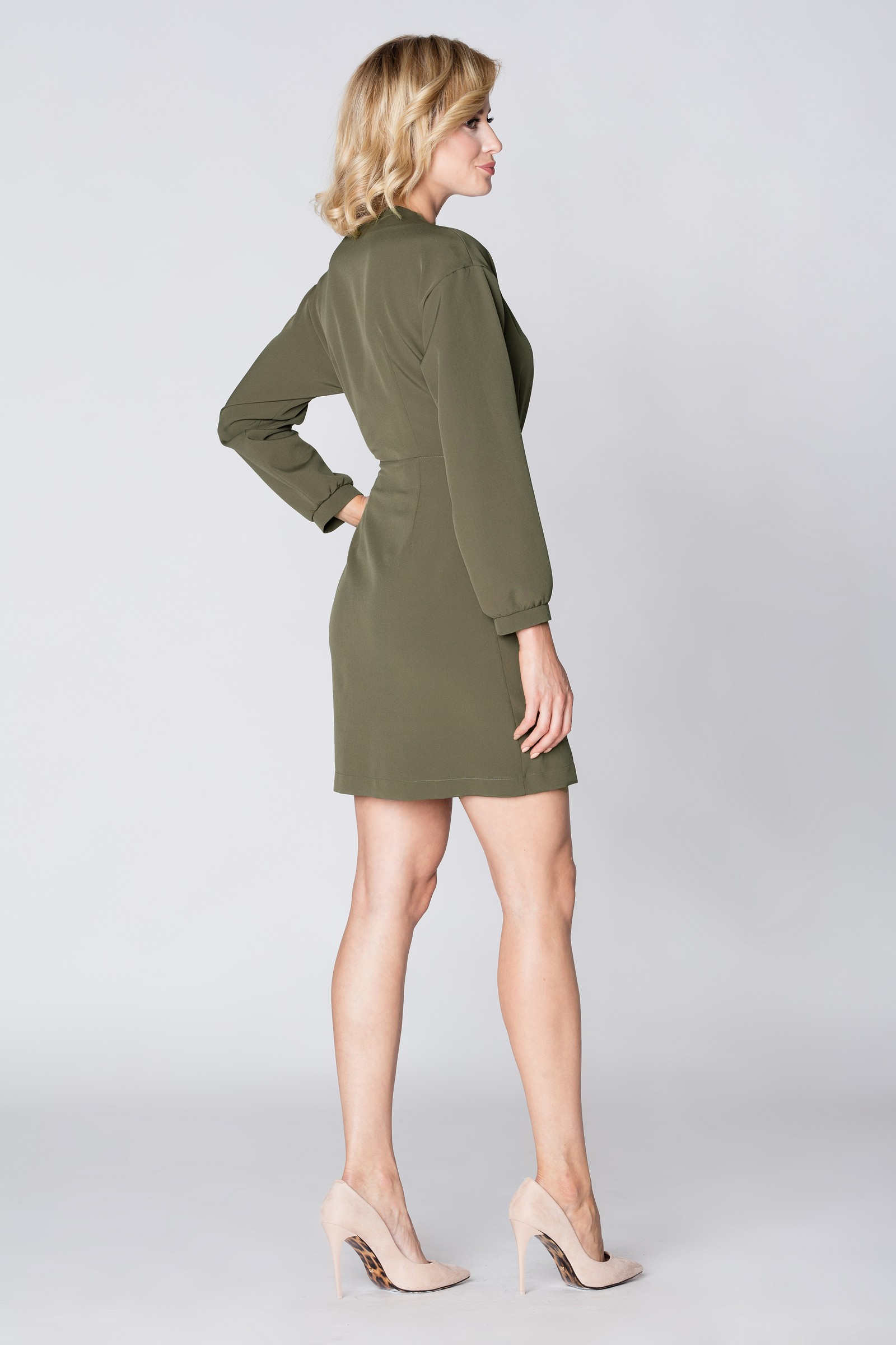 CM3892 Stylowa kopertowa sukienka - khaki