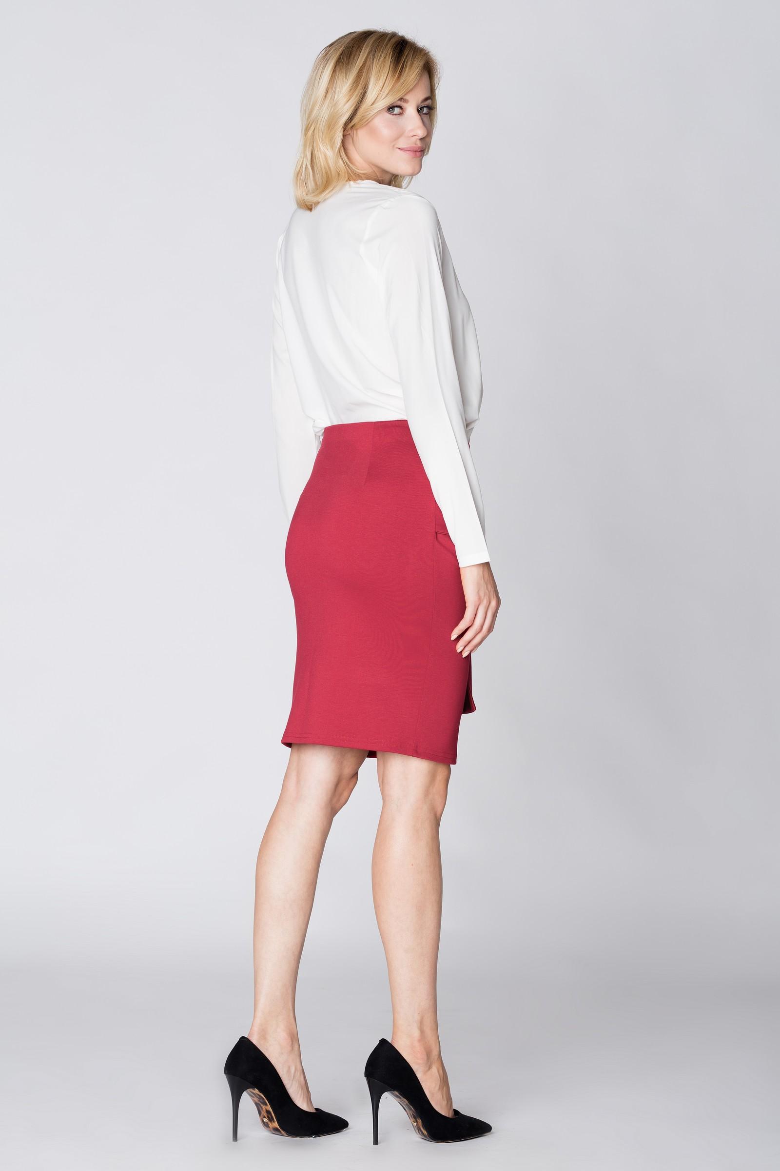 CM3893 Dopasowana spódnica na kokardę - czerwona