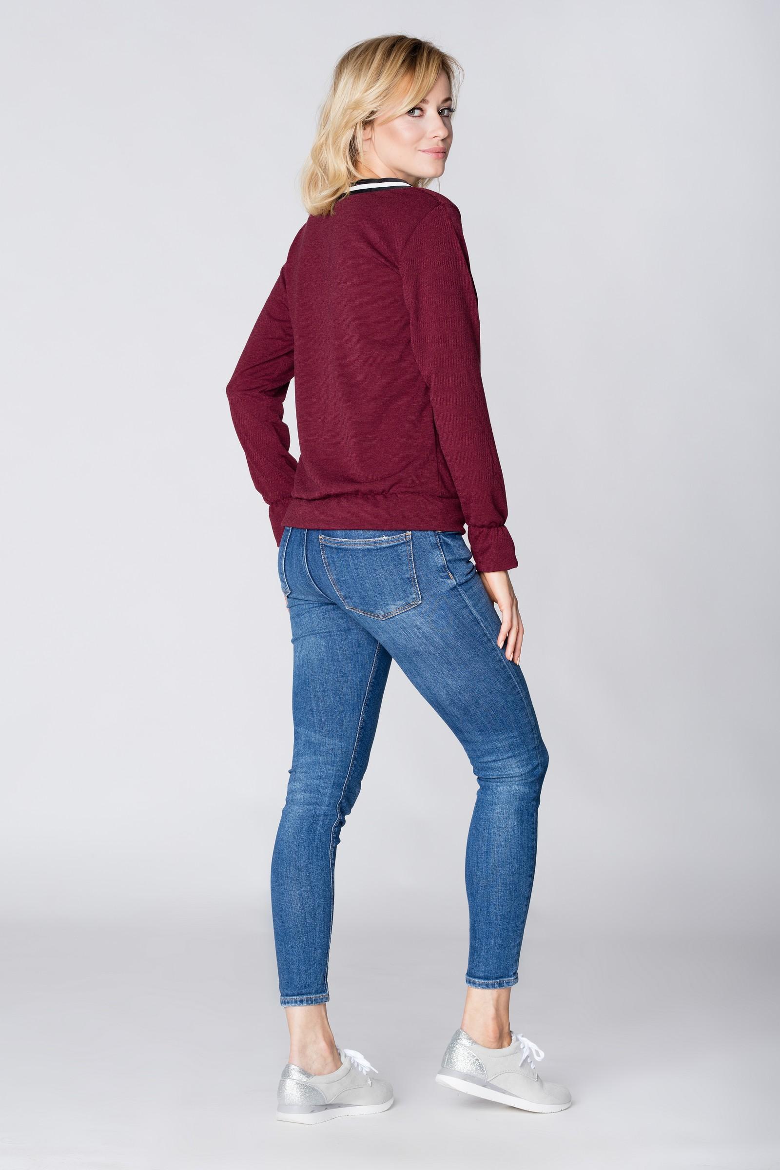 CM3896 Sweter z ozdobną taśmą przy dekolcie - bordowy