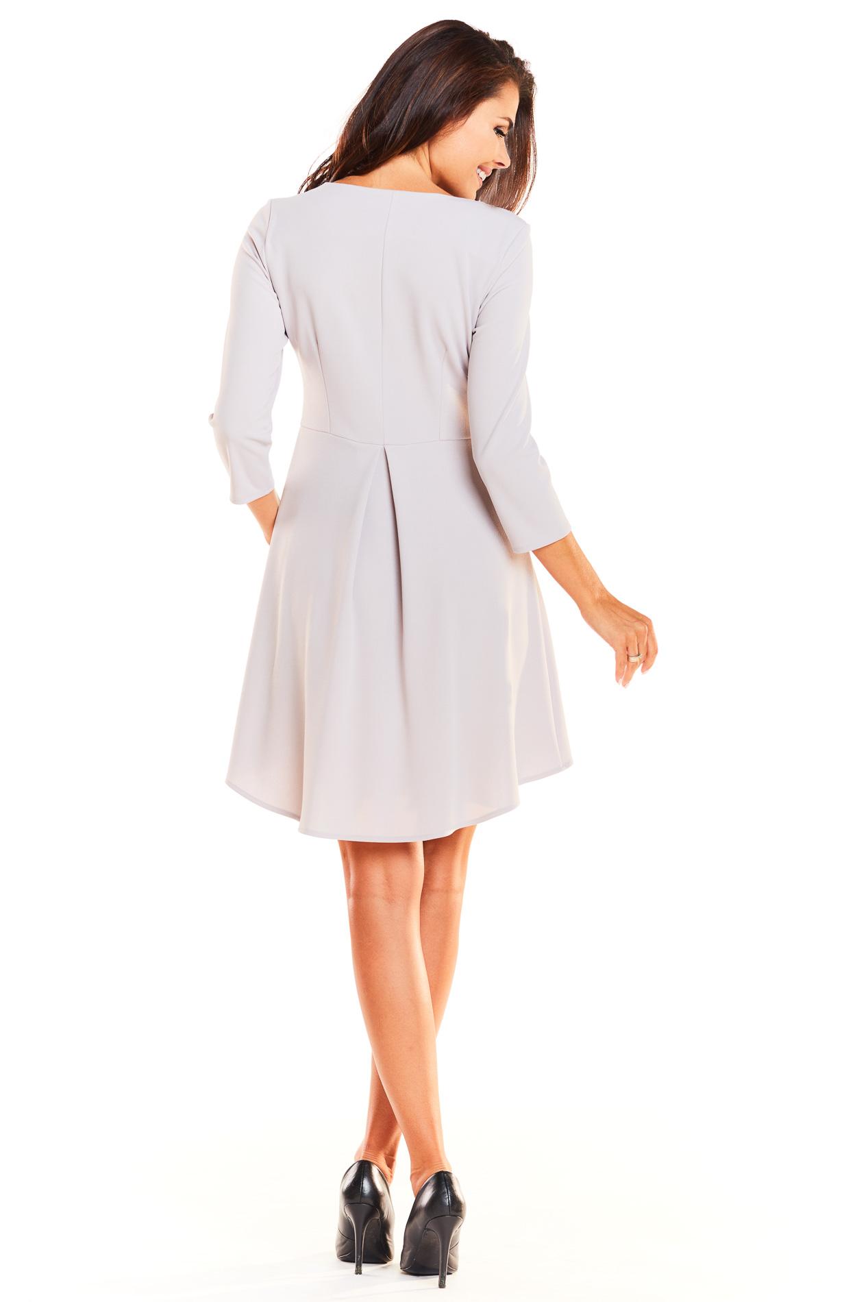 CM3926 Asymetryczna sukienka z rękawem 3/4 - szara
