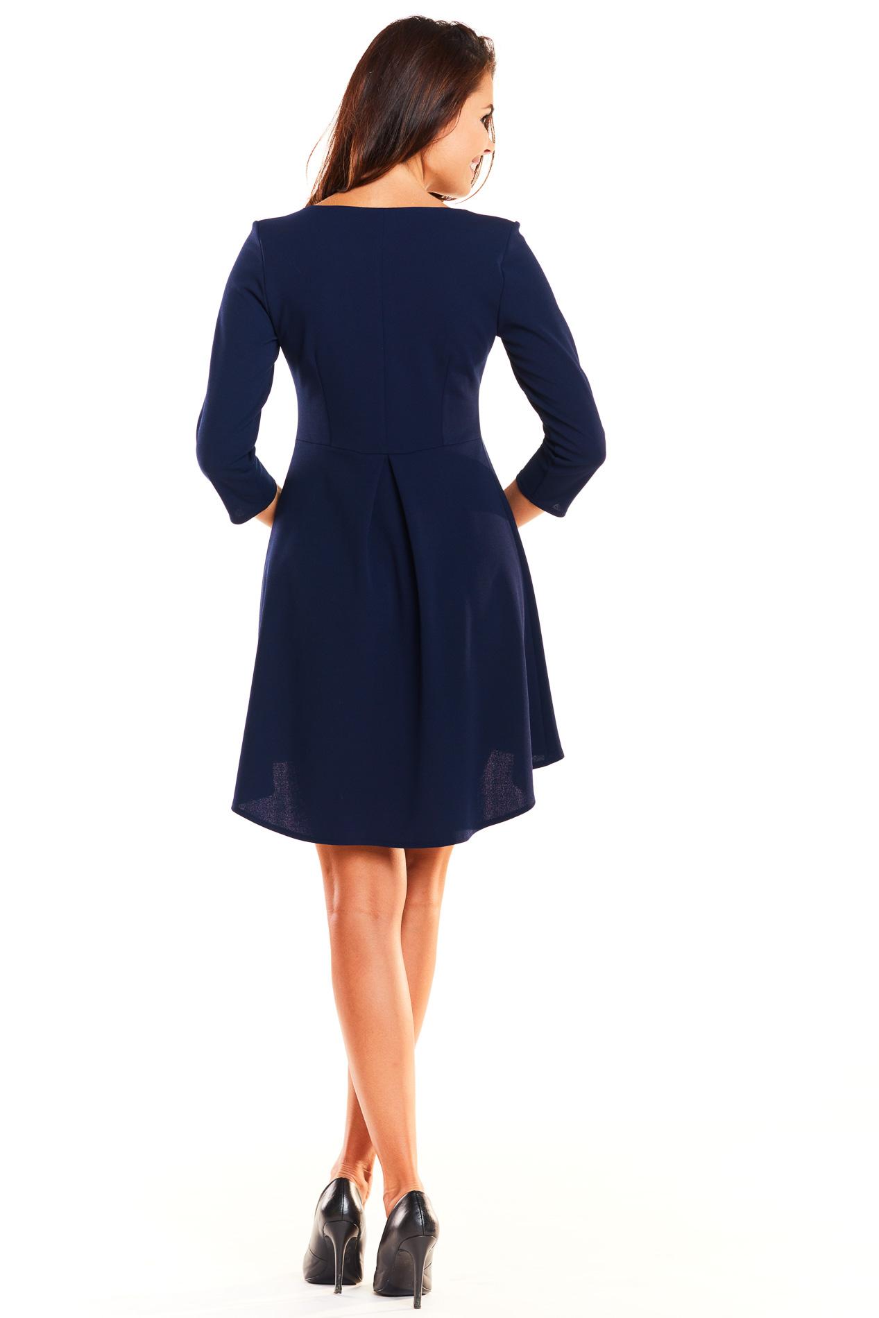 CM3926 Asymetryczna sukienka z rękawem 3/4 - granatowa