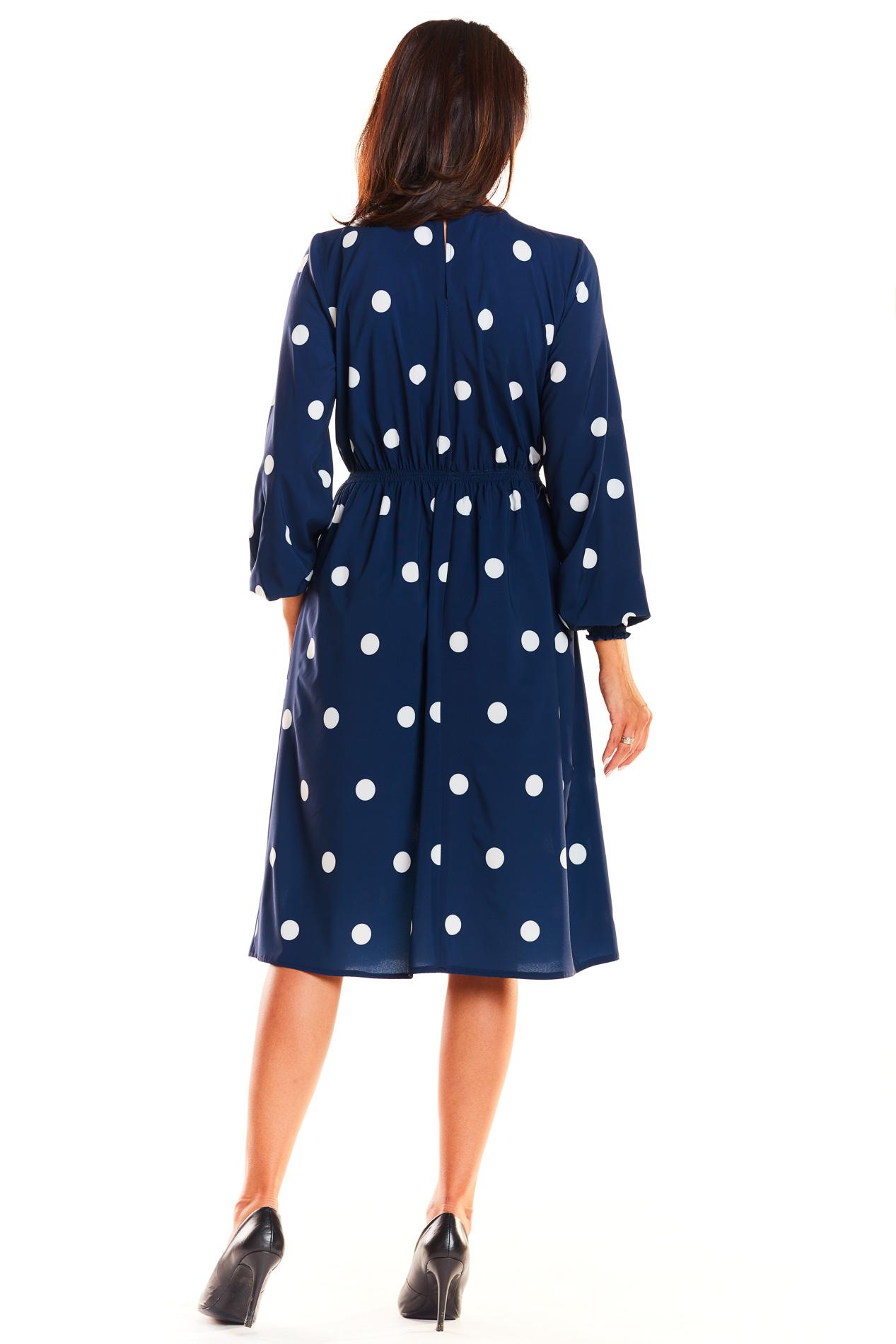 CM3927 Sukienka midi ze ściągaczem - granatowa