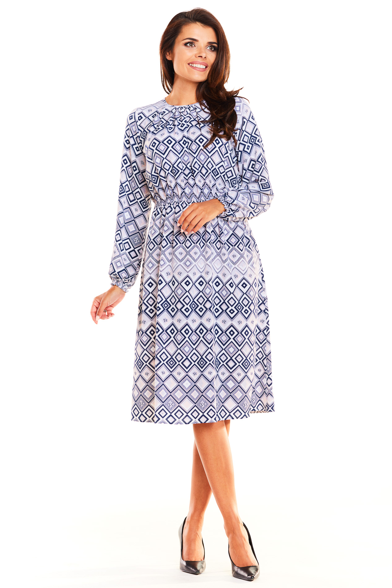 CM3927 Sukienka midi ze ściągaczem - romby