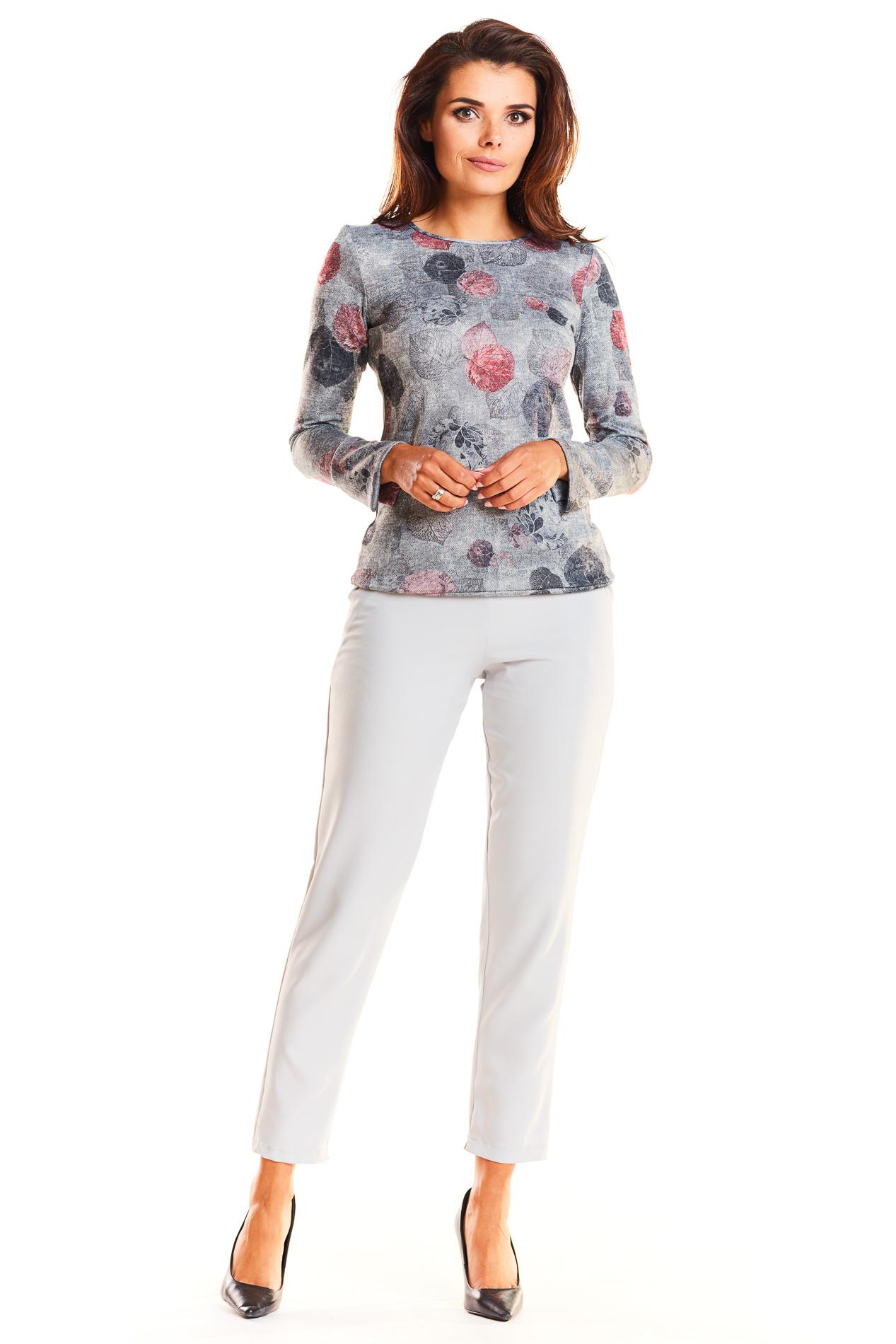 CM3928 Zwiewna bluzka z długim rękawem - szara
