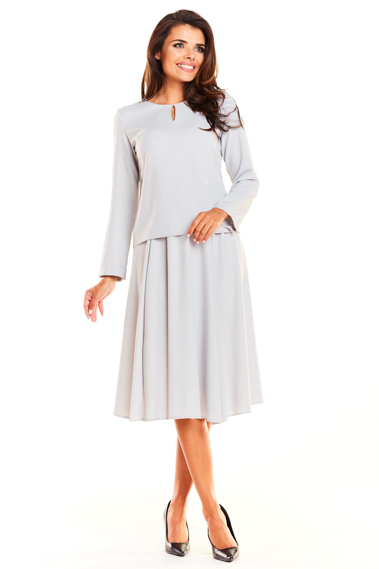 CM3931 Komplet - bluzka z długim rękawem i rozkloszowana spódnica - szary