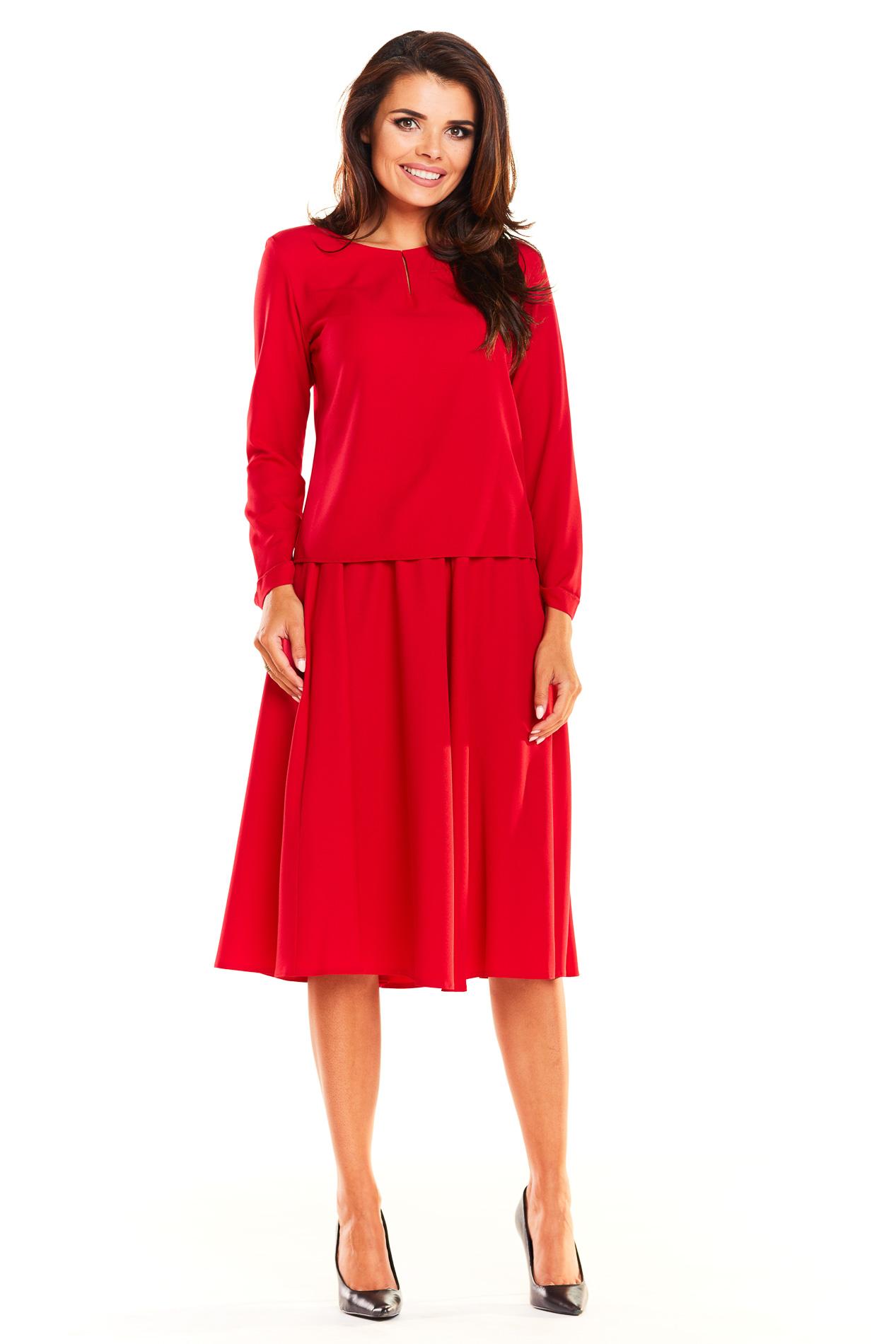 CM3931 Komplet - bluzka z długim rękawem i rozkloszowana spódnica - czerwony
