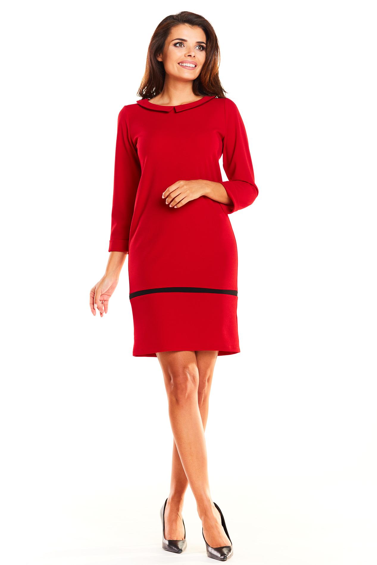 CM3932 Dopasowana sukienka mini z kołnierzykiem - czerwona