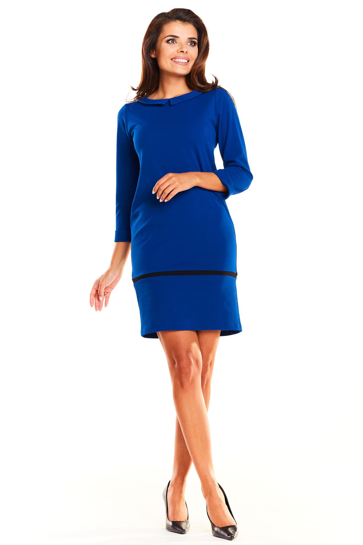 CM3932 Dopasowana sukienka mini z kołnierzykiem - niebieska