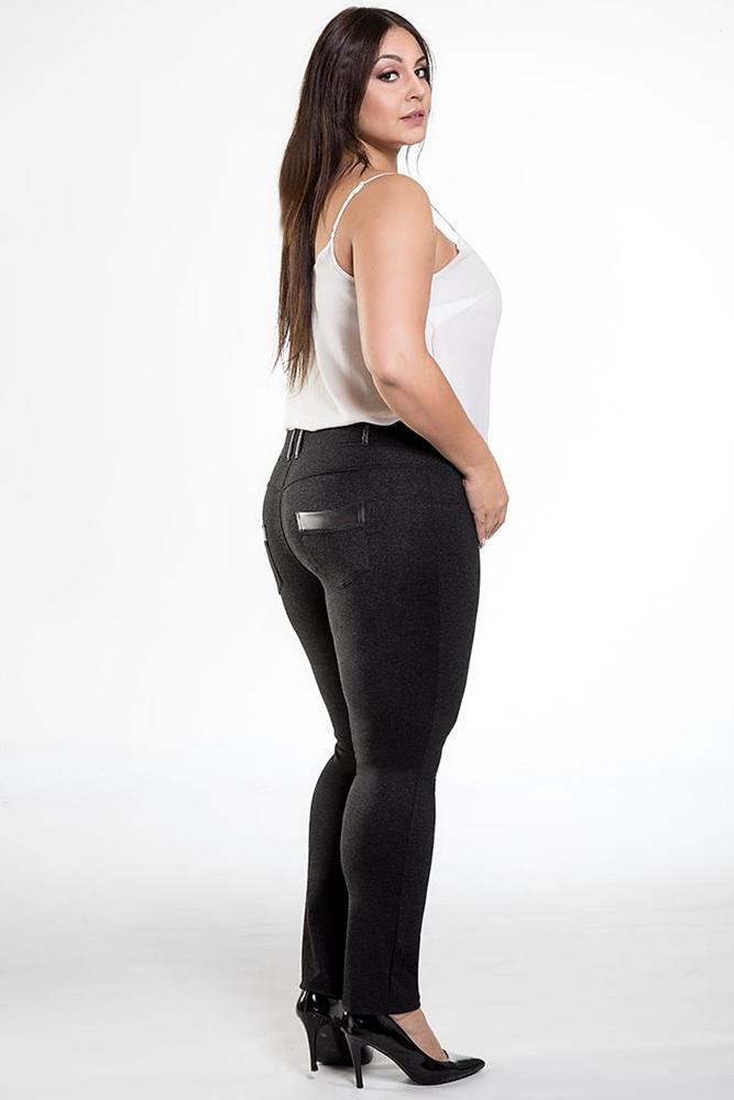 CM1903 Dopasowane spodnie ze skórzanymi wstawkami - czarne