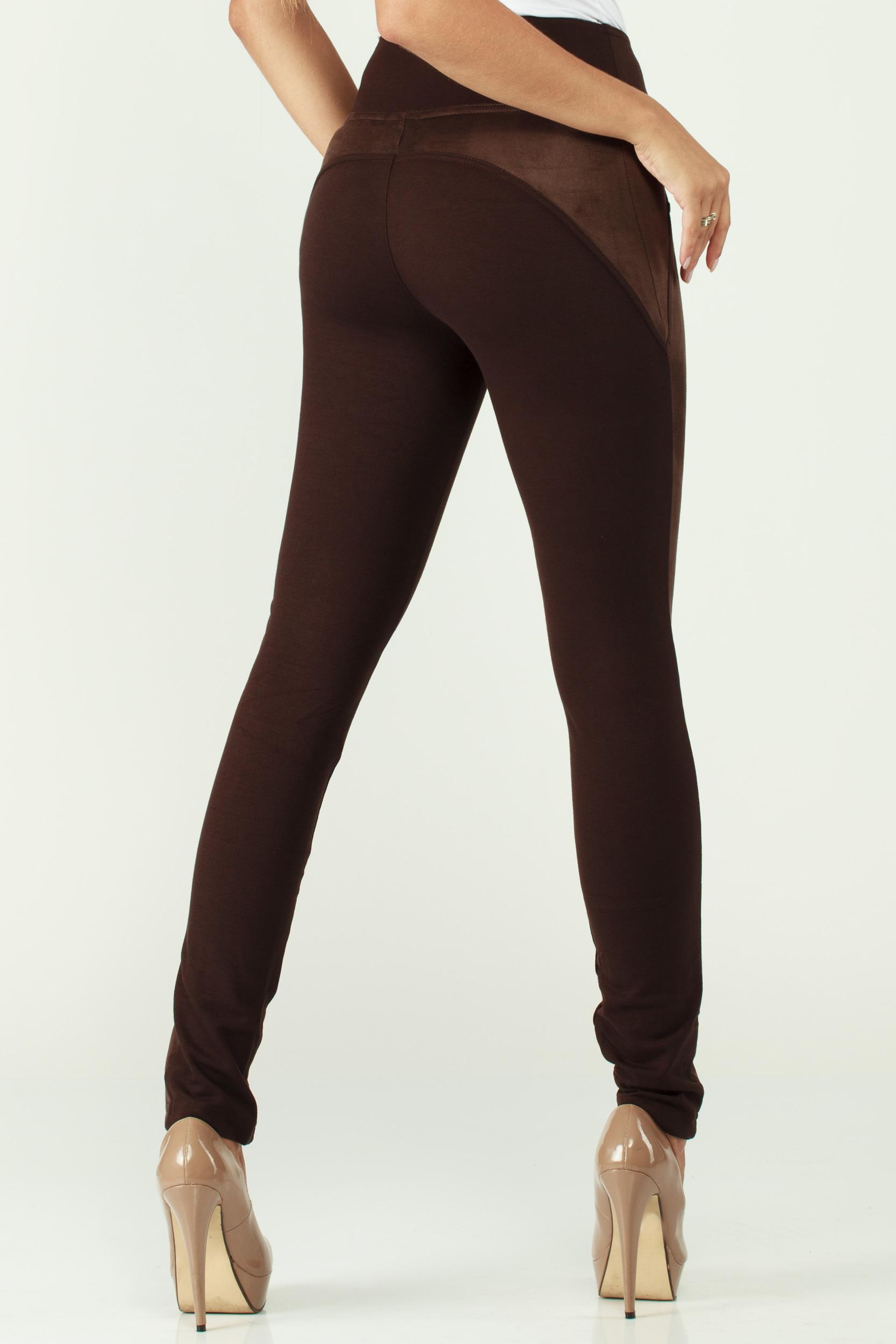 CM1902 Zamszowe legginsy damskie - brązowe