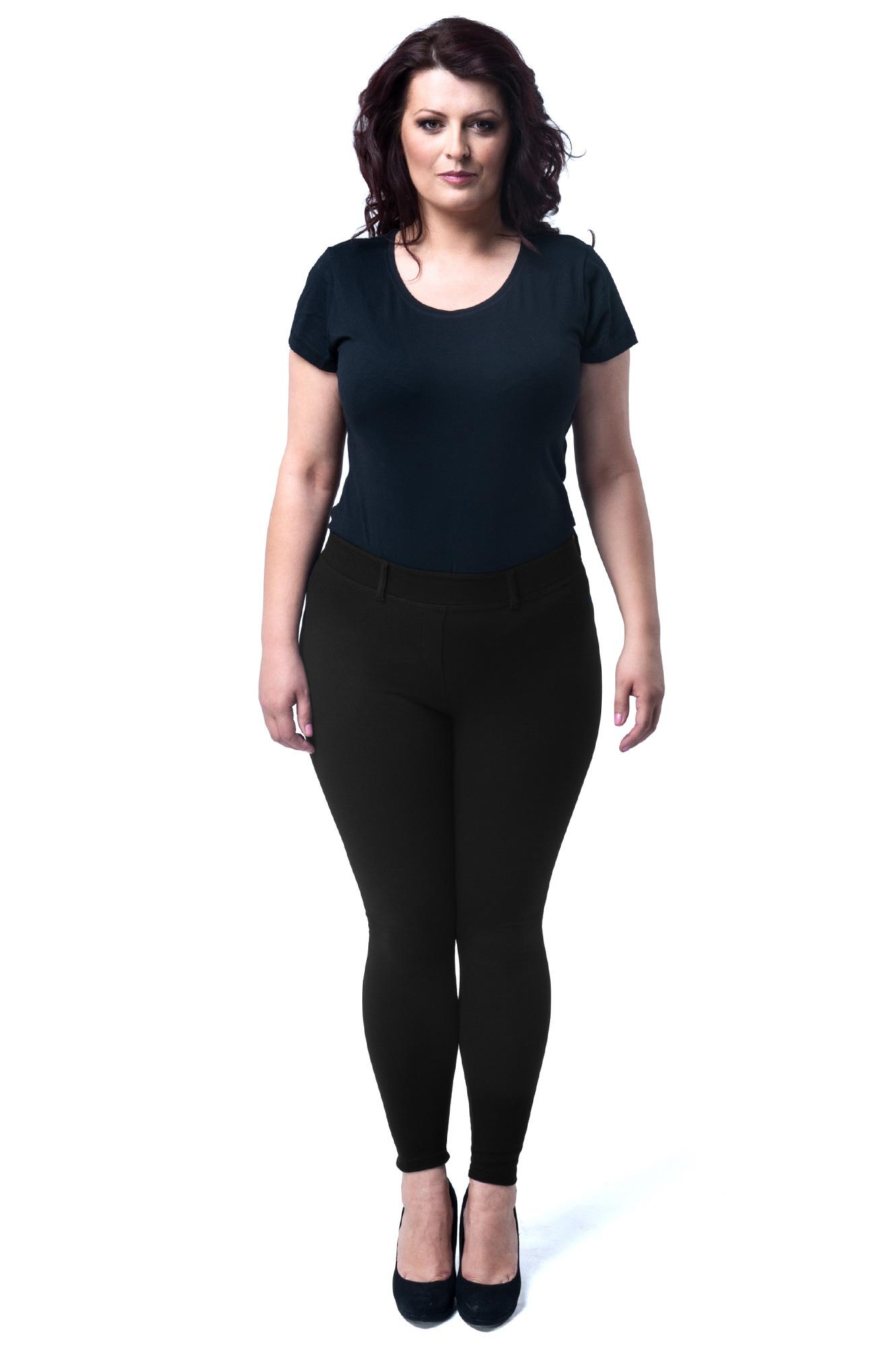 CM1907 Eleganckie dopasowane legginsy damskie z kieszeniami z tyłu - czarne