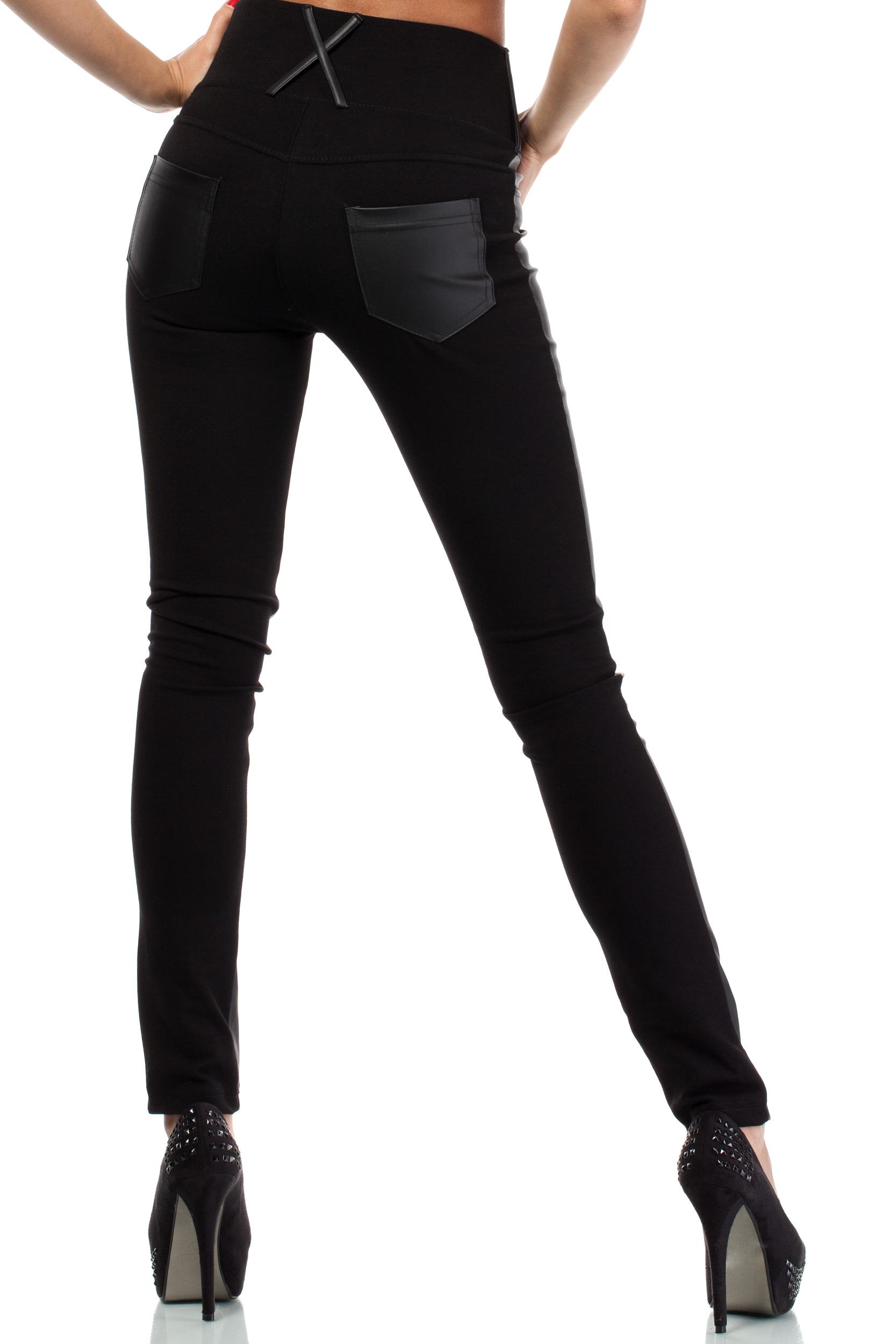 CM3945 Dopasowane skórzane legginsy z kieszeniami plus size - czarne