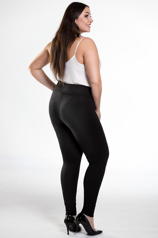 CM3948 Gładkie elastyczne legginsy plus size - czarne