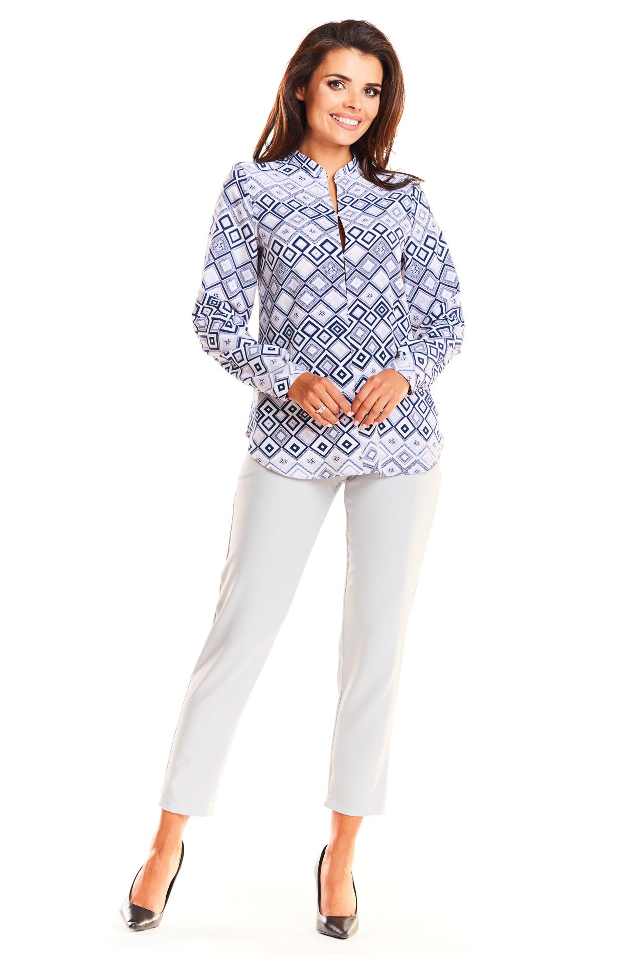 CM3933 Stylowa koszula biurowa - romby