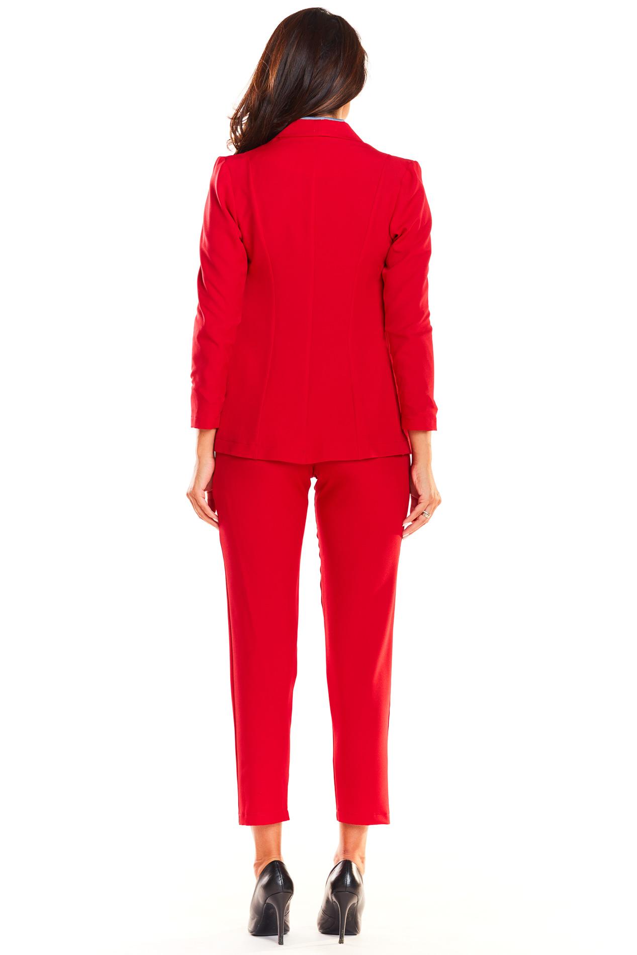CM3934 Niezapinany klasyczny żakiet - czerwony
