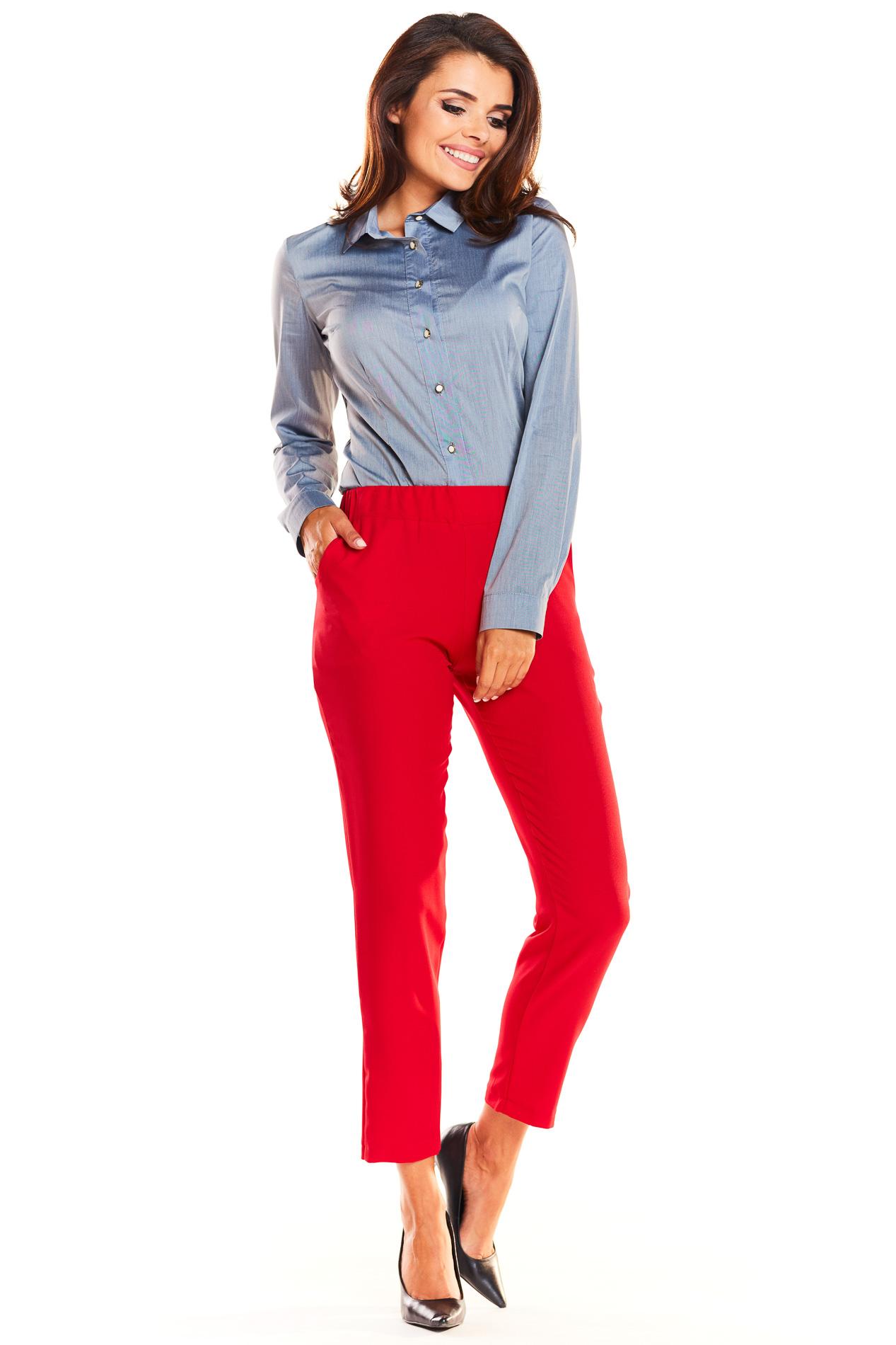 CM3935 Klasyczne biurowe spodnie - czerwone