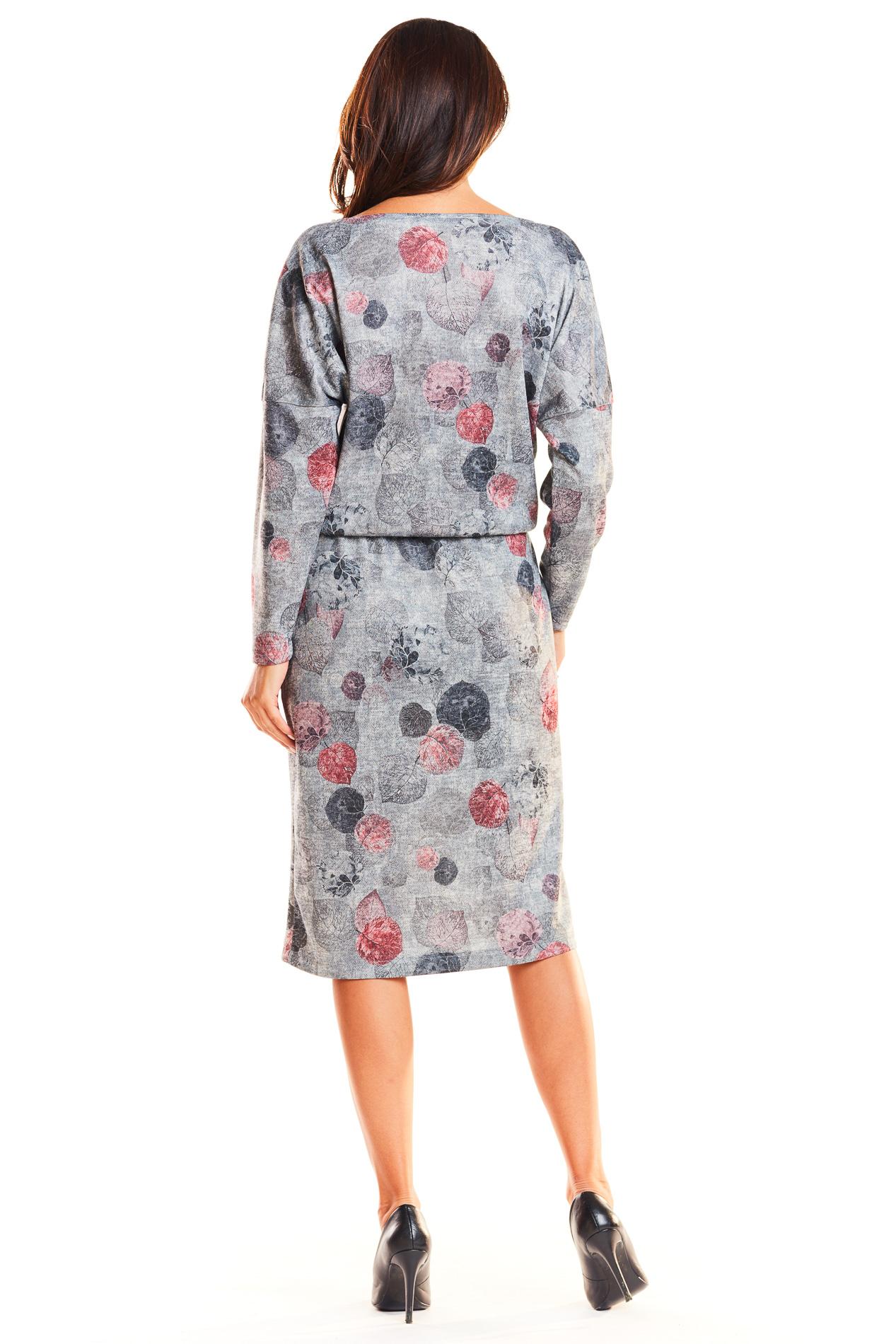 CM3937 Odcinana sukienka midi z długim rękawem - szara