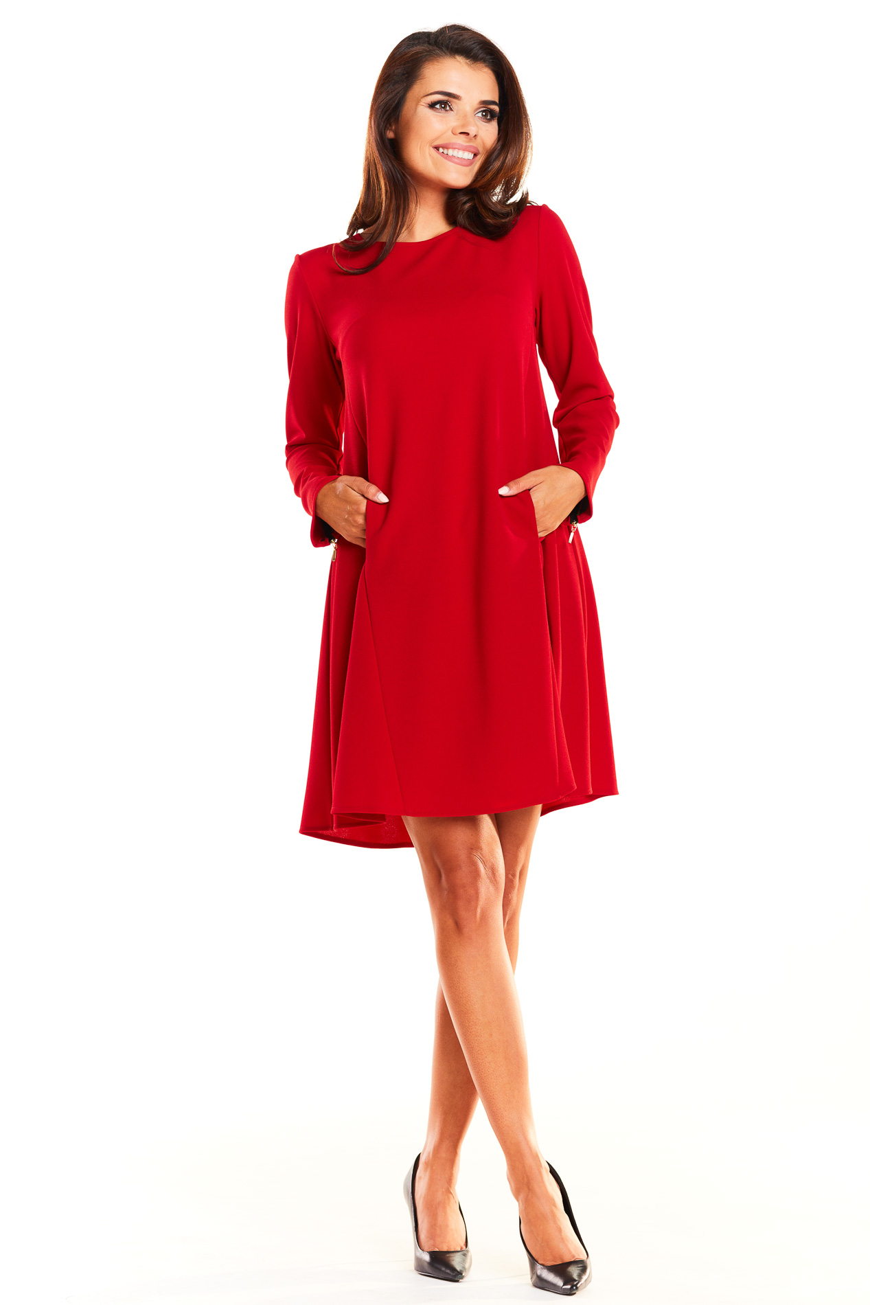 CM3941 Trapezowa sukienka biurowa - czerwona