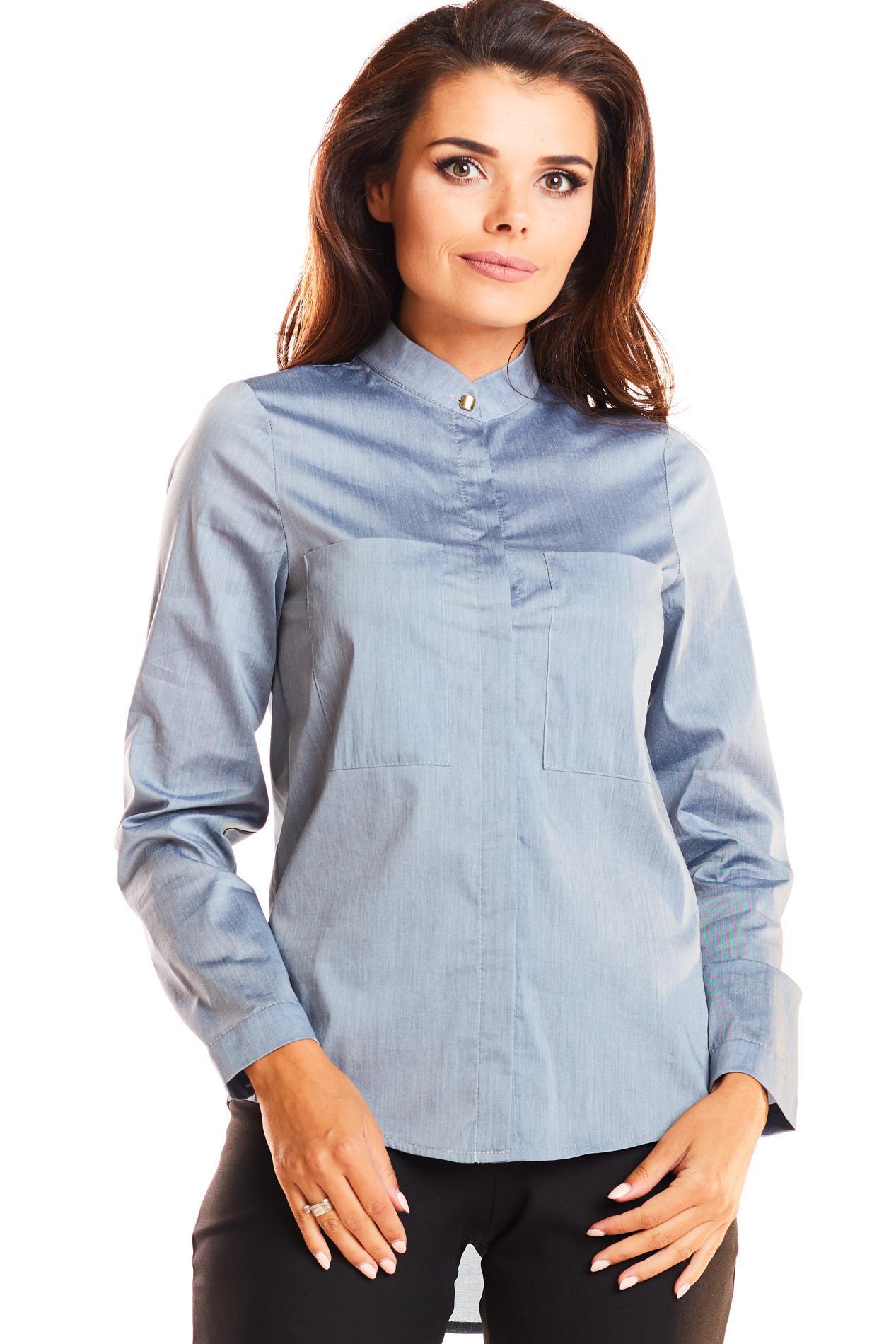CM3943 Klasyczna dopasowana koszula ze stójką - szara