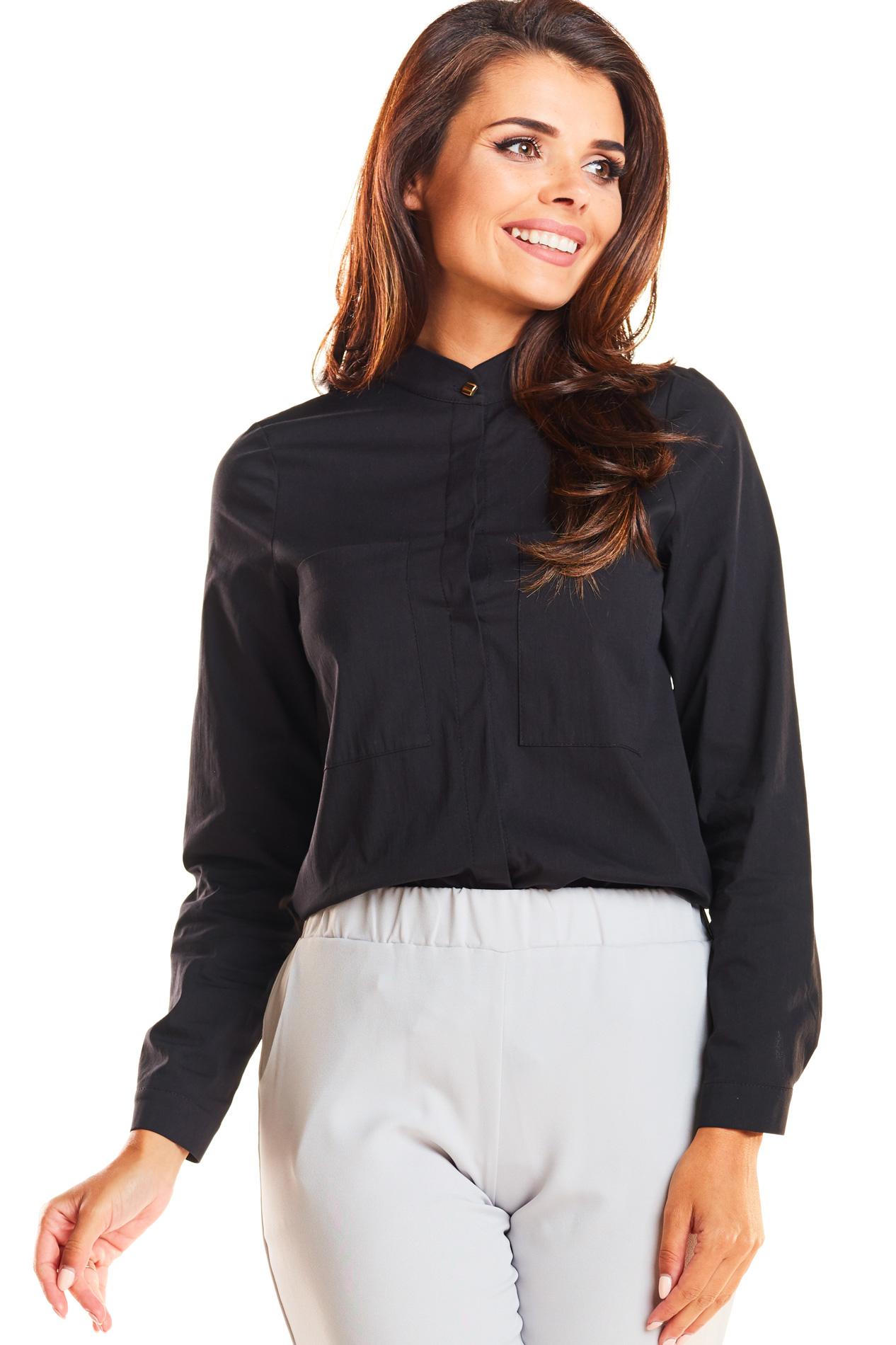 CM3943 Klasyczna dopasowana koszula ze stójką - czarna