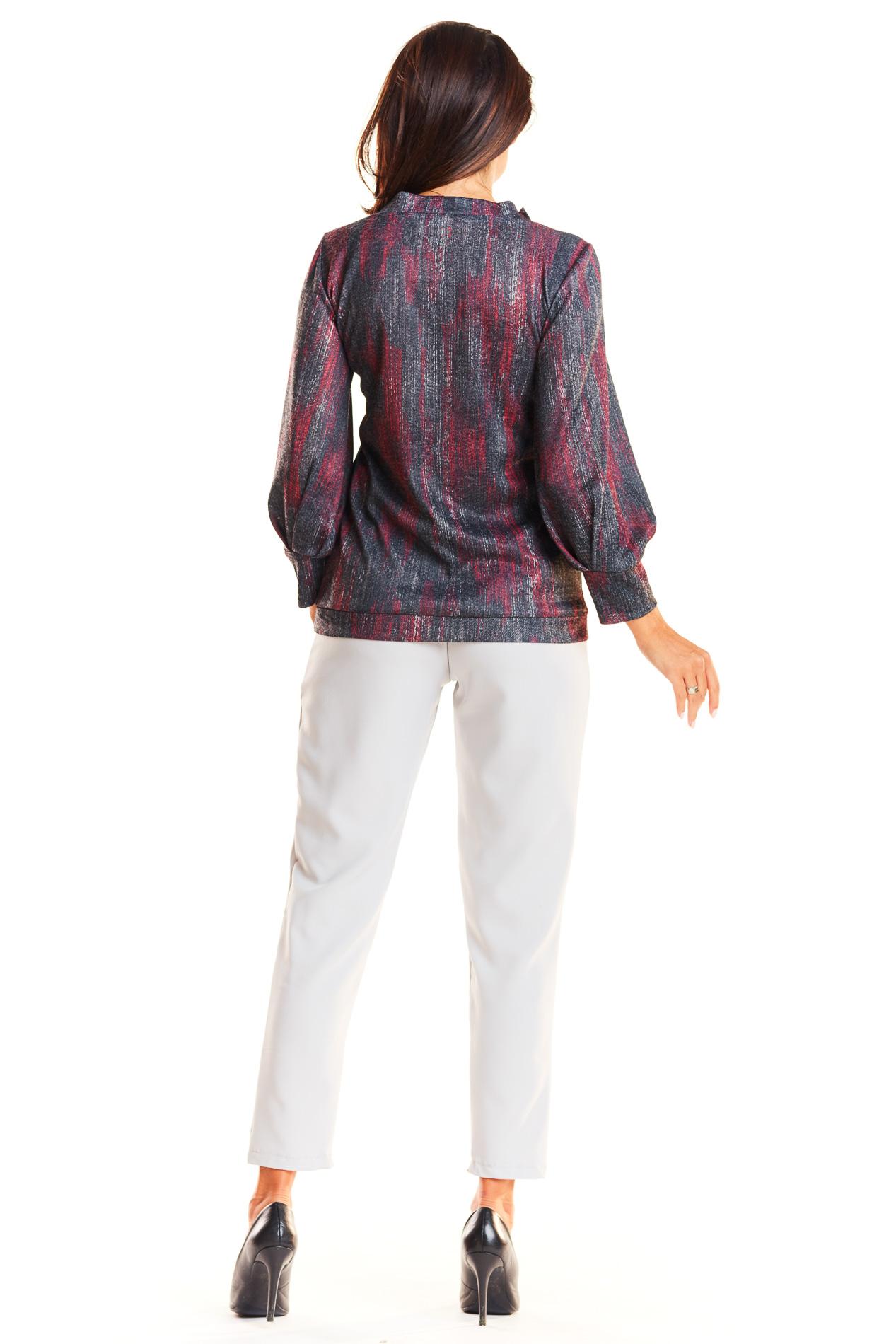 CM3958 Klasyczna bluzka z szerokim rękawem - czerwona