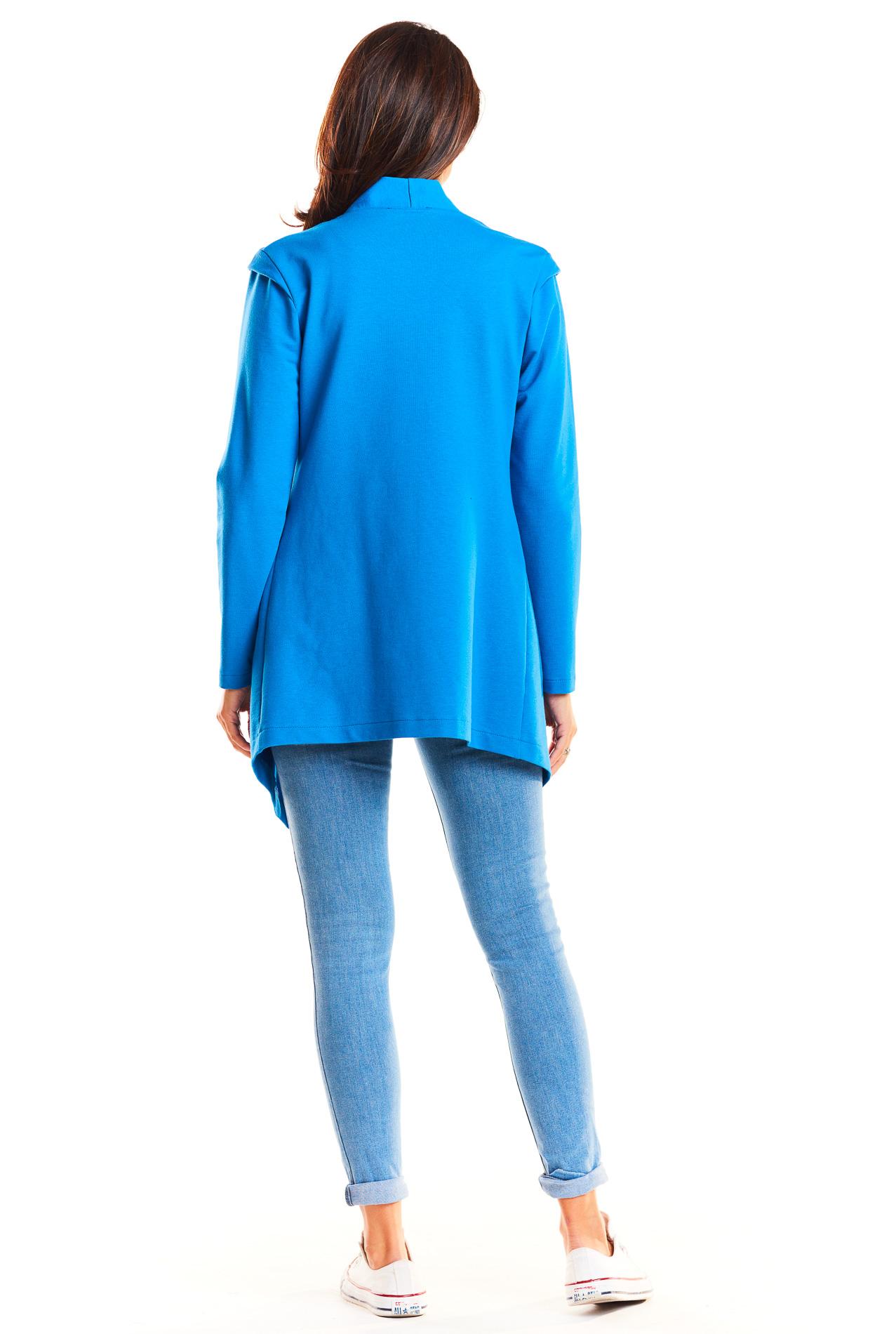 CM3960 Długi niezapinany żakiet - niebieski