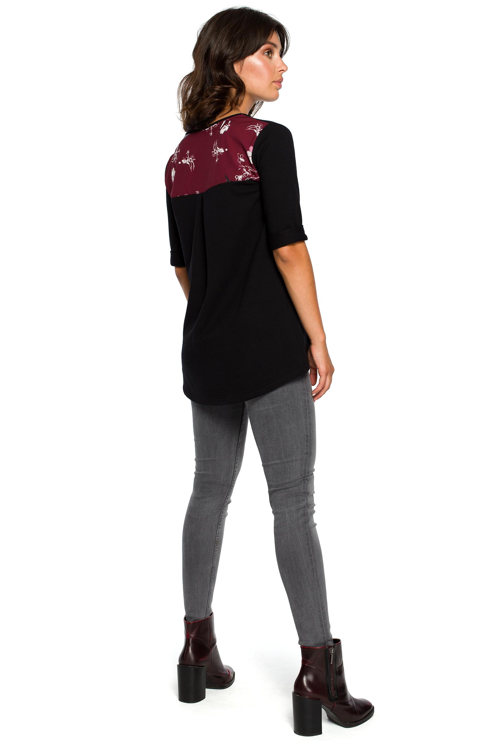 CM3992 Bluzka ze wstawkami w kwiaty - czarna