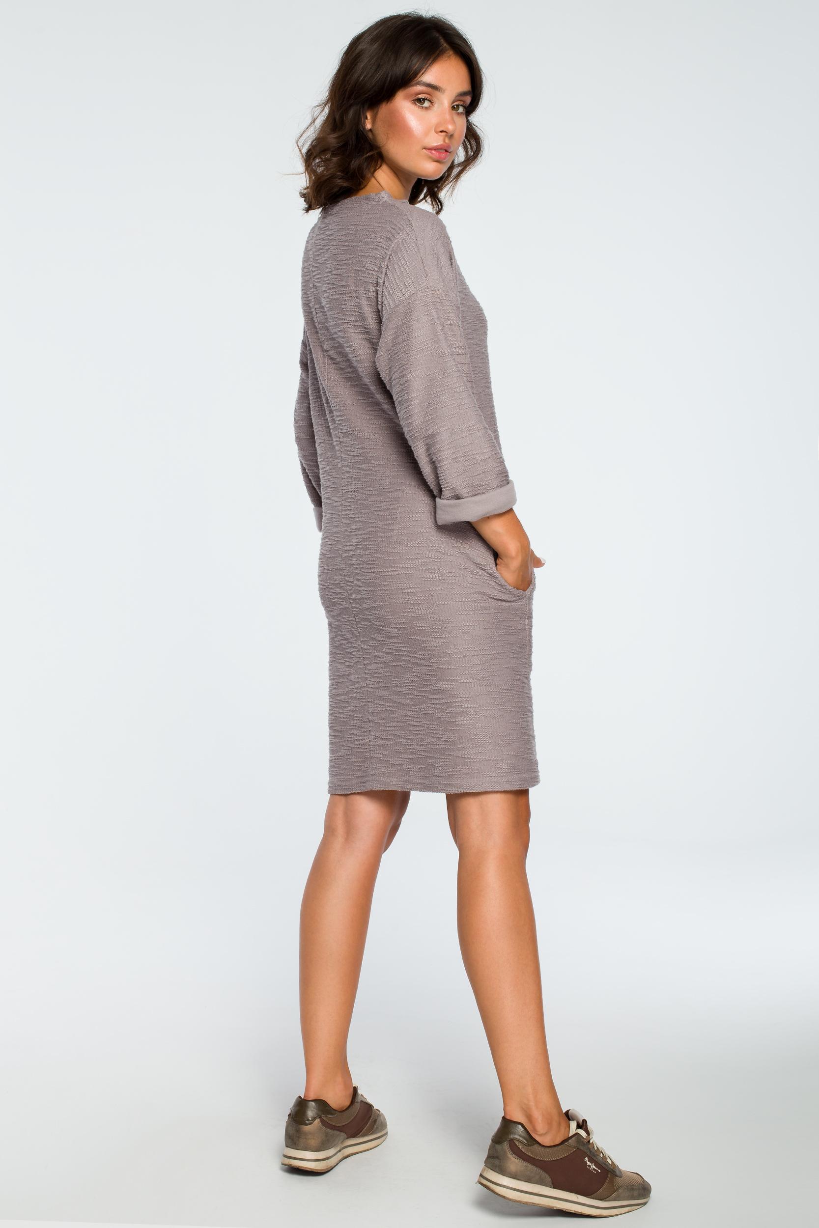 CM3993 Sukienka z kieszeniami na przodzie - szara