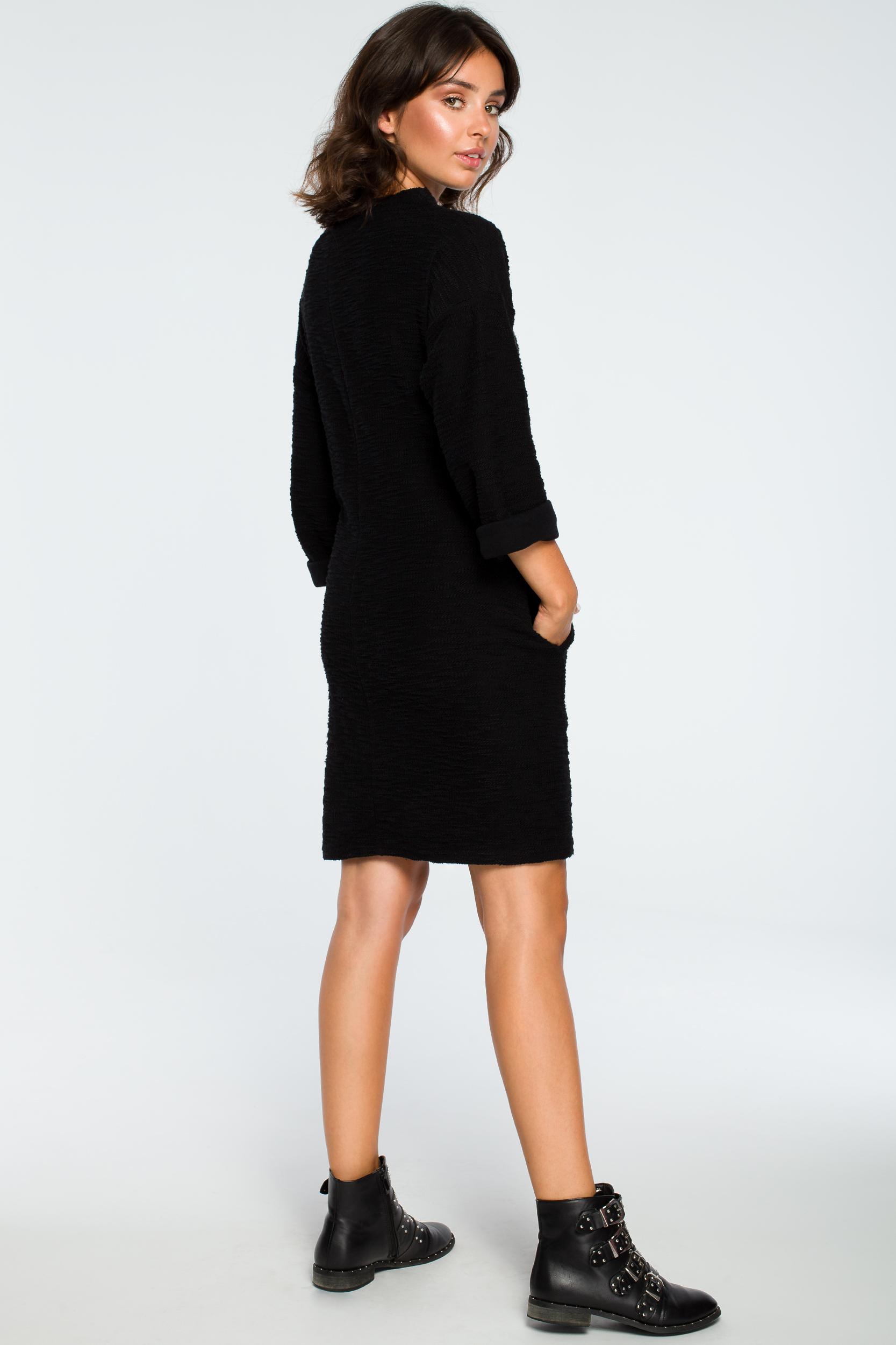 CM3993 Sukienka z kieszeniami na przodzie - czarna