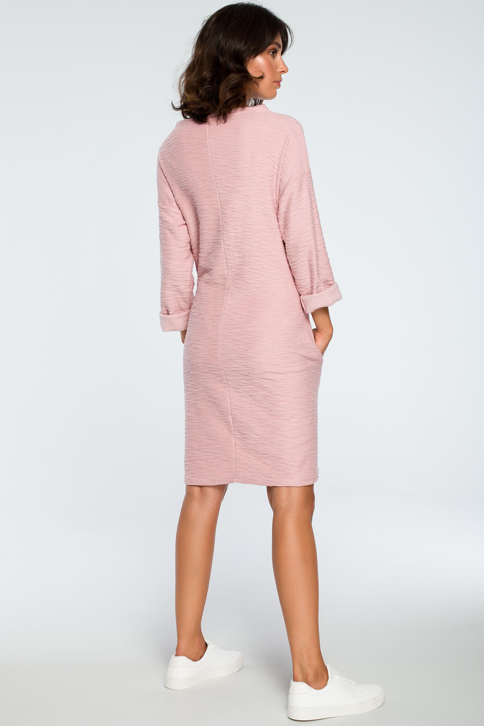 CM3993 Sukienka z kieszeniami na przodzie - pudrowa