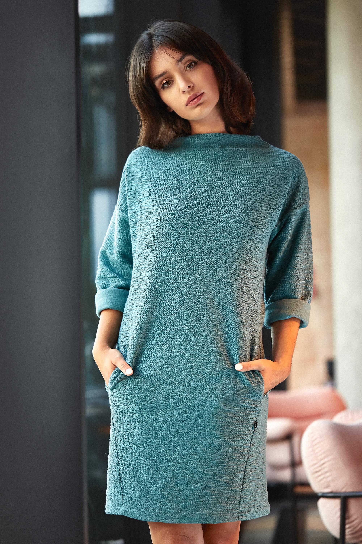 7ac6ee50 Sukienka z kieszeniami na przodzie - turkusowa - Cudmoda