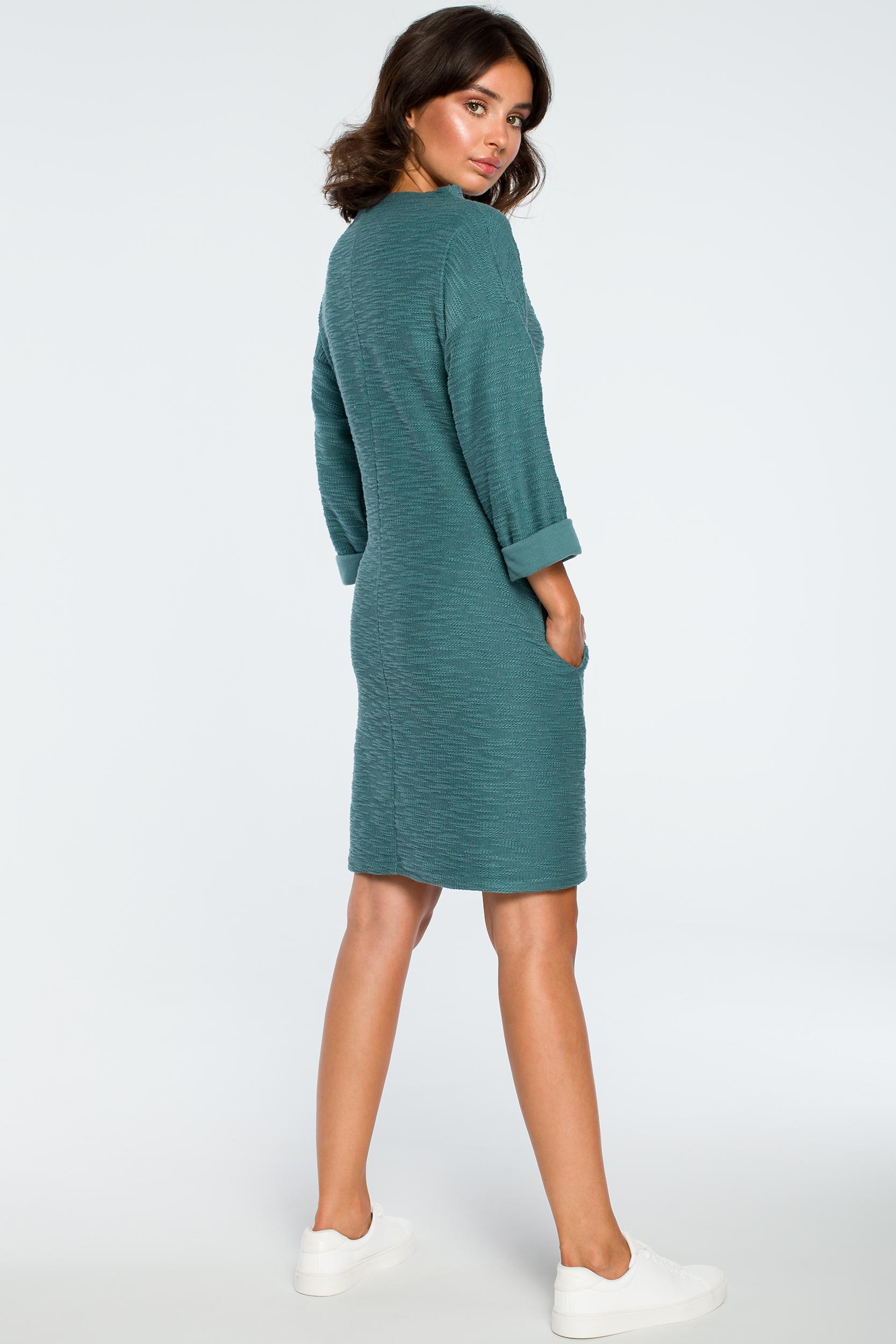 CM3993 Sukienka z kieszeniami na przodzie - turkusowa