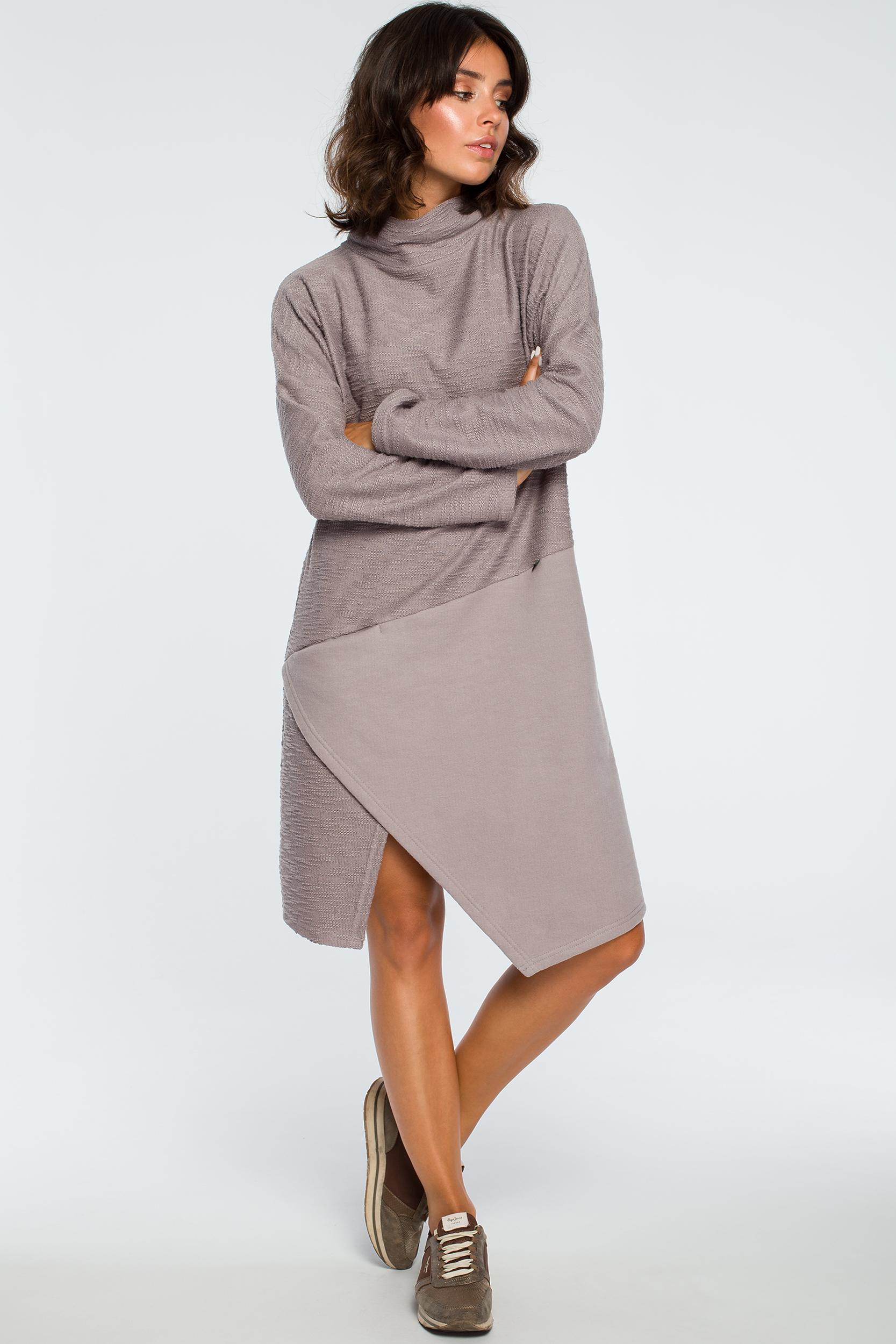 CM3995 Sukienka z asymetrycznym przeszyciem na przodzie - szara