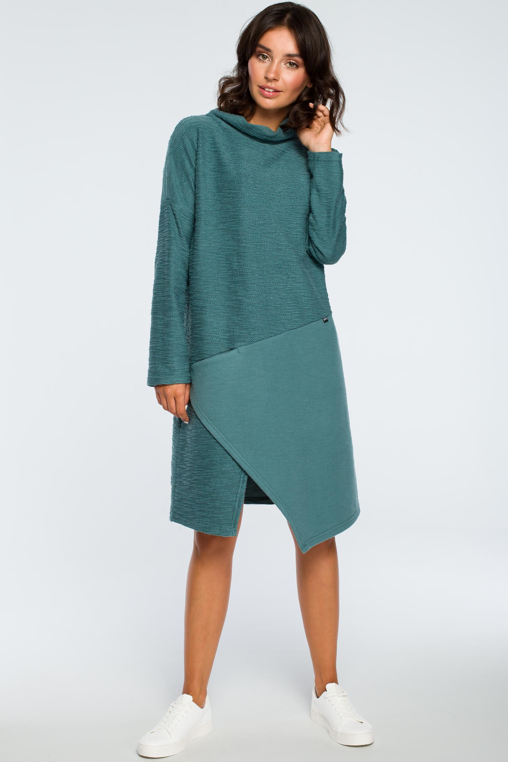 CM3995 Sukienka z asymetrycznym przeszyciem na przodzie - turkusowa