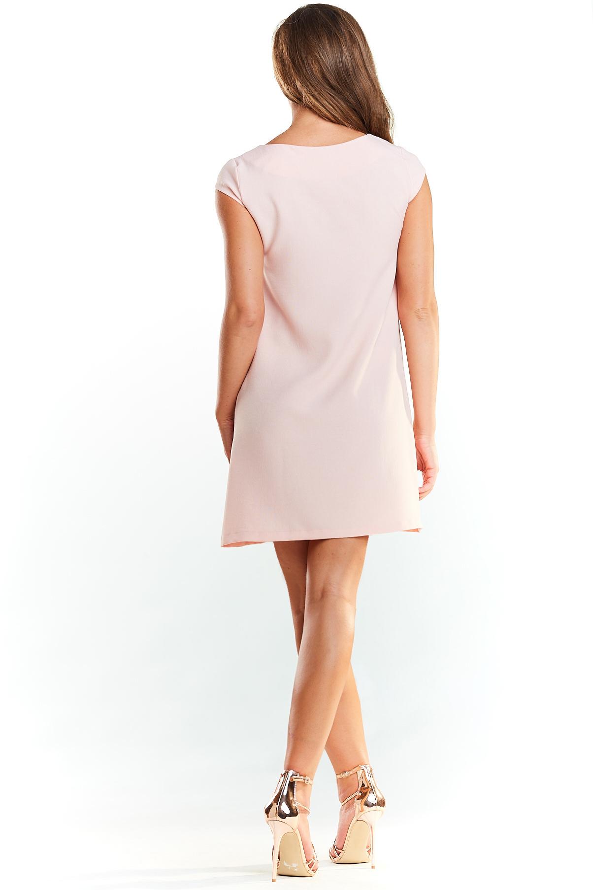 CM3972 Klasyczna sukienka mini bez rękawów - pudrowy róż