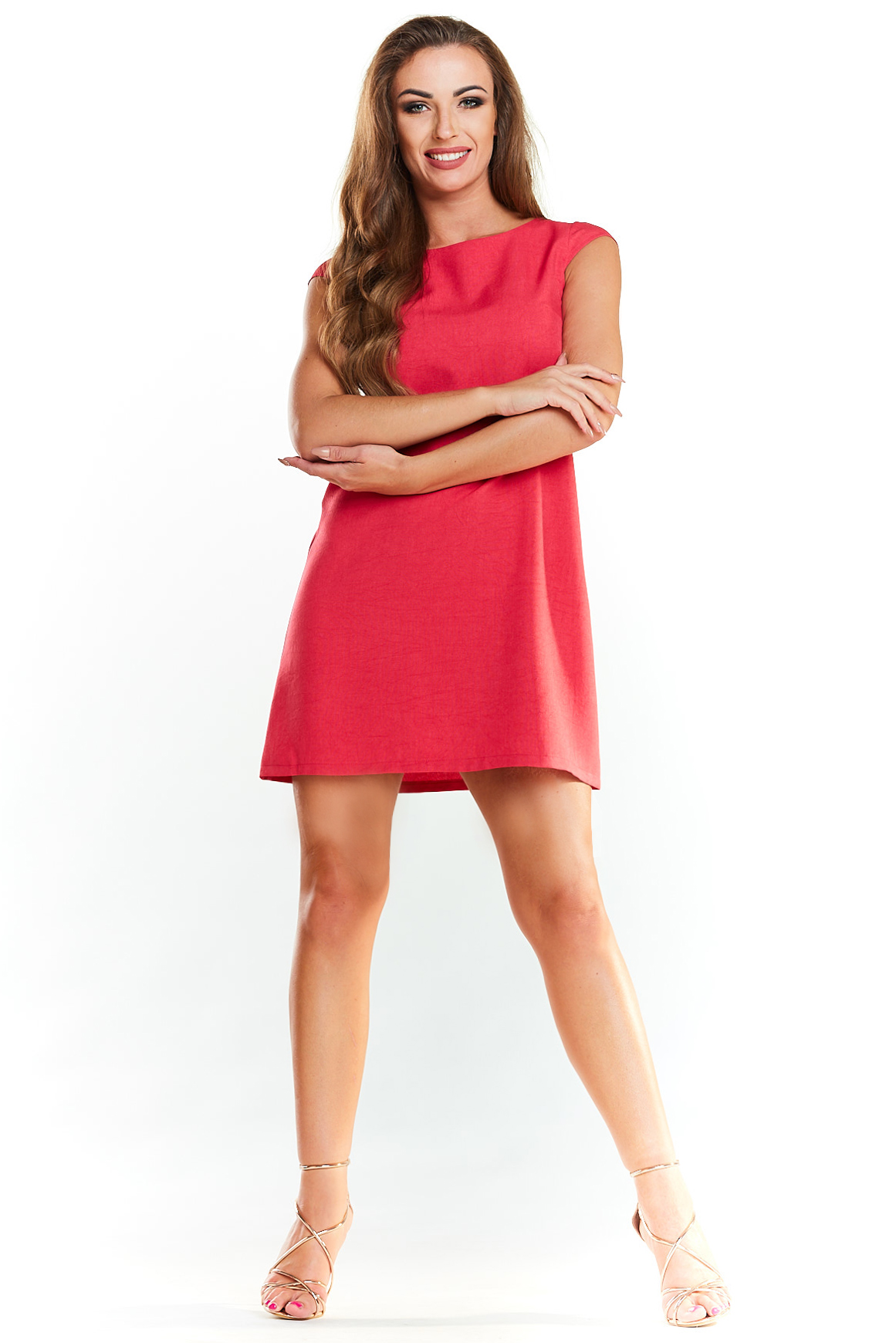 CM3972 Klasyczna sukienka mini bez rękawów - fuksja