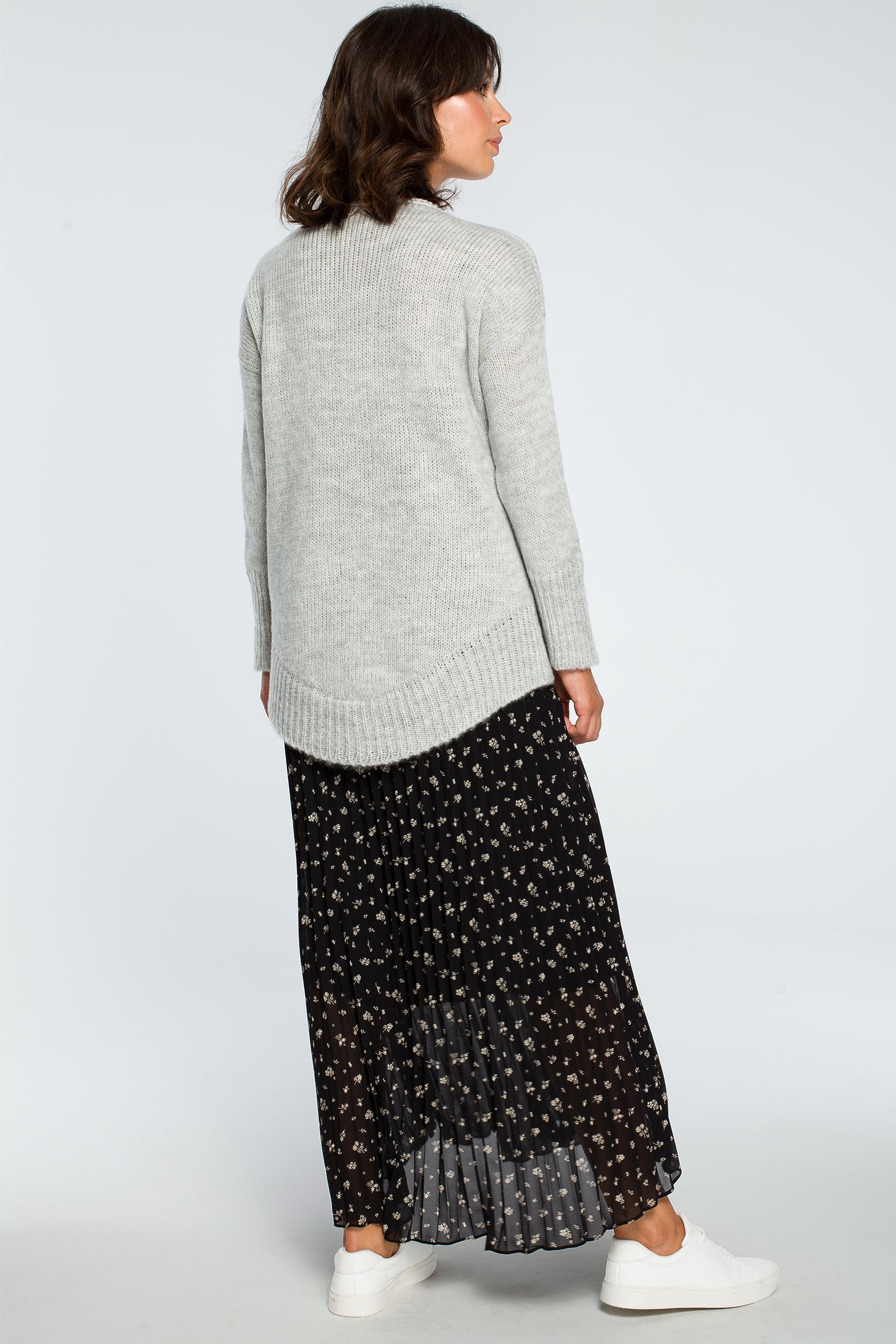 CM3999 Asymetryczny sweter z głębokim dekoltem - popielaty