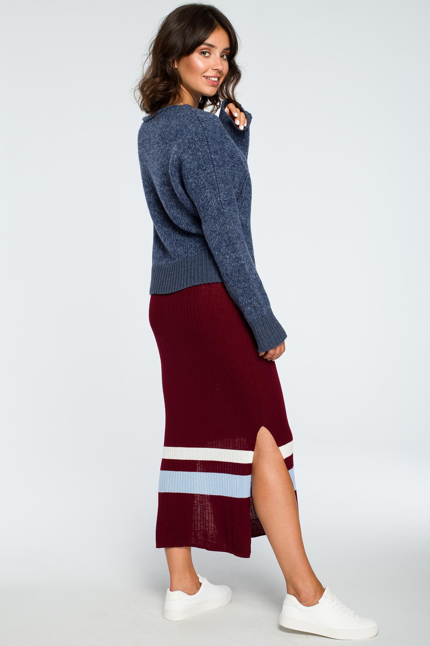 CM4002 Sweter oversize typu kimono - niebieski