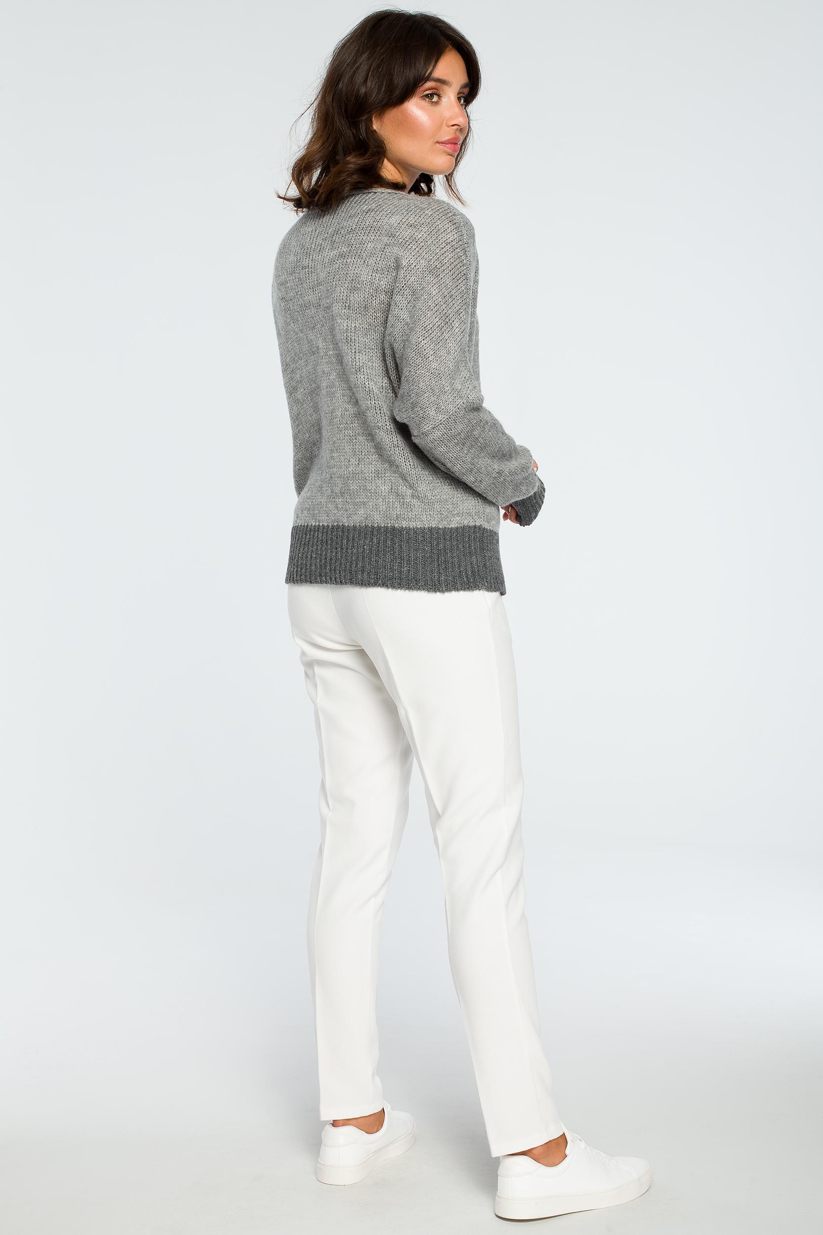 CM4002 Sweter oversize typu kimono - popielaty