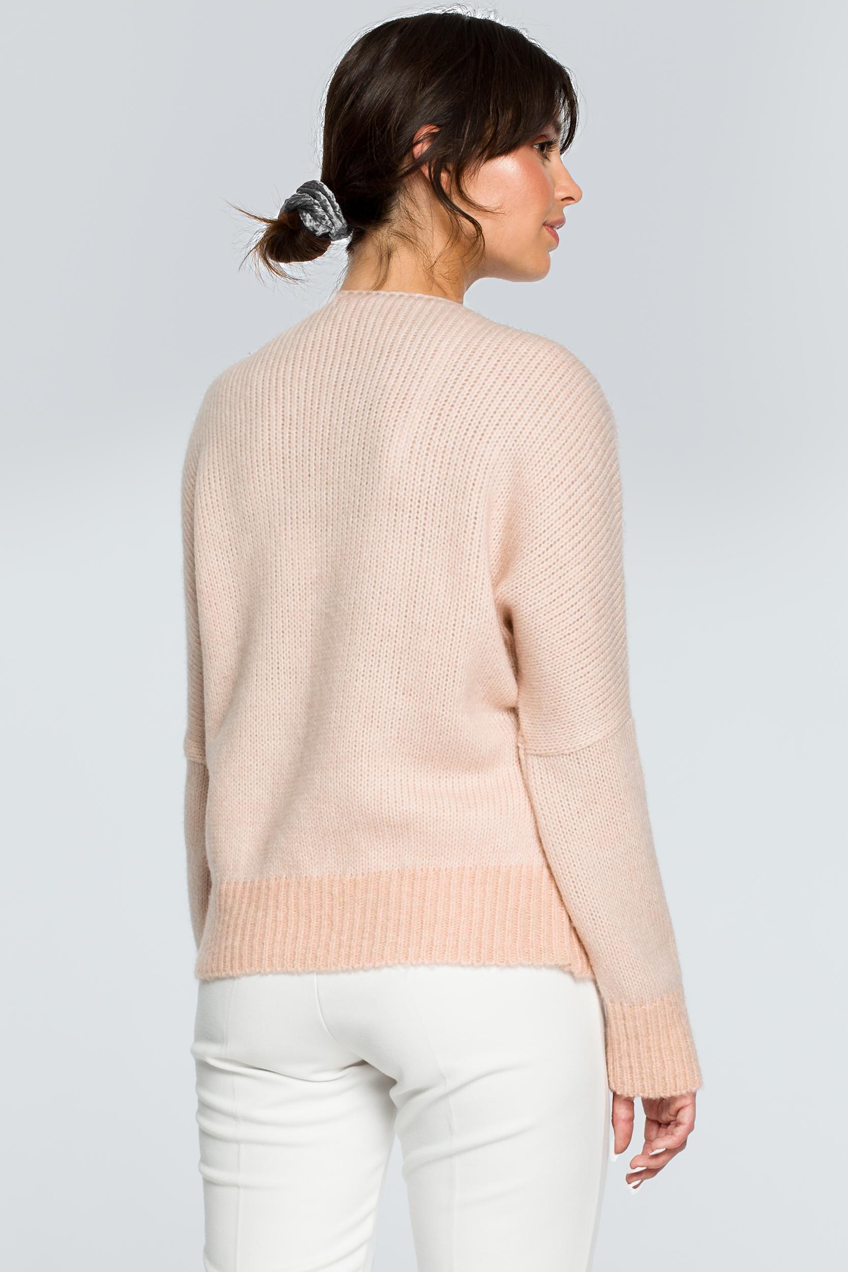 CM4002 Sweter oversize typu kimono - bladoróżowy