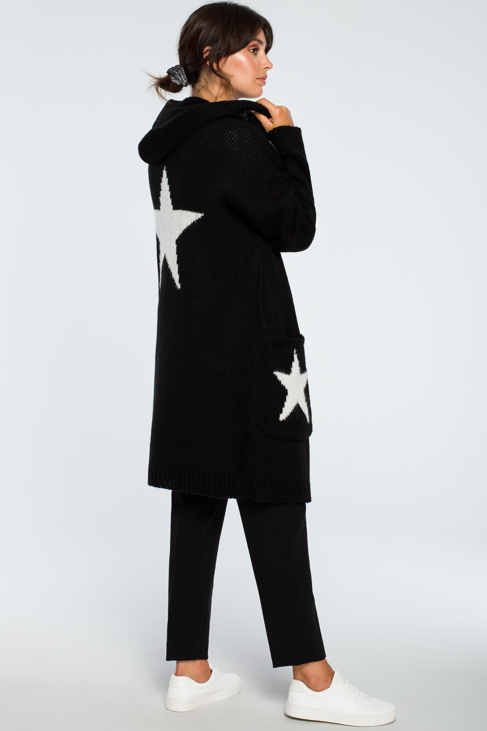 CM4000 Niezapinany kardigan w gwiazdy - czarny