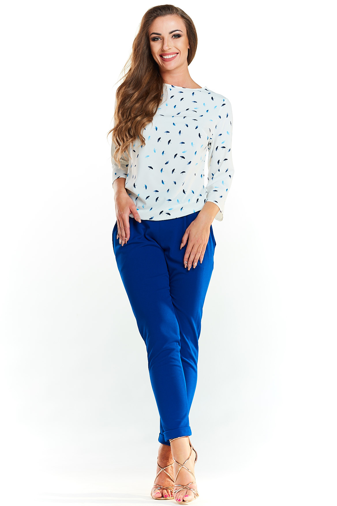 CM3977 Klasyczna elegancka bluzka - niebieskie parasolki